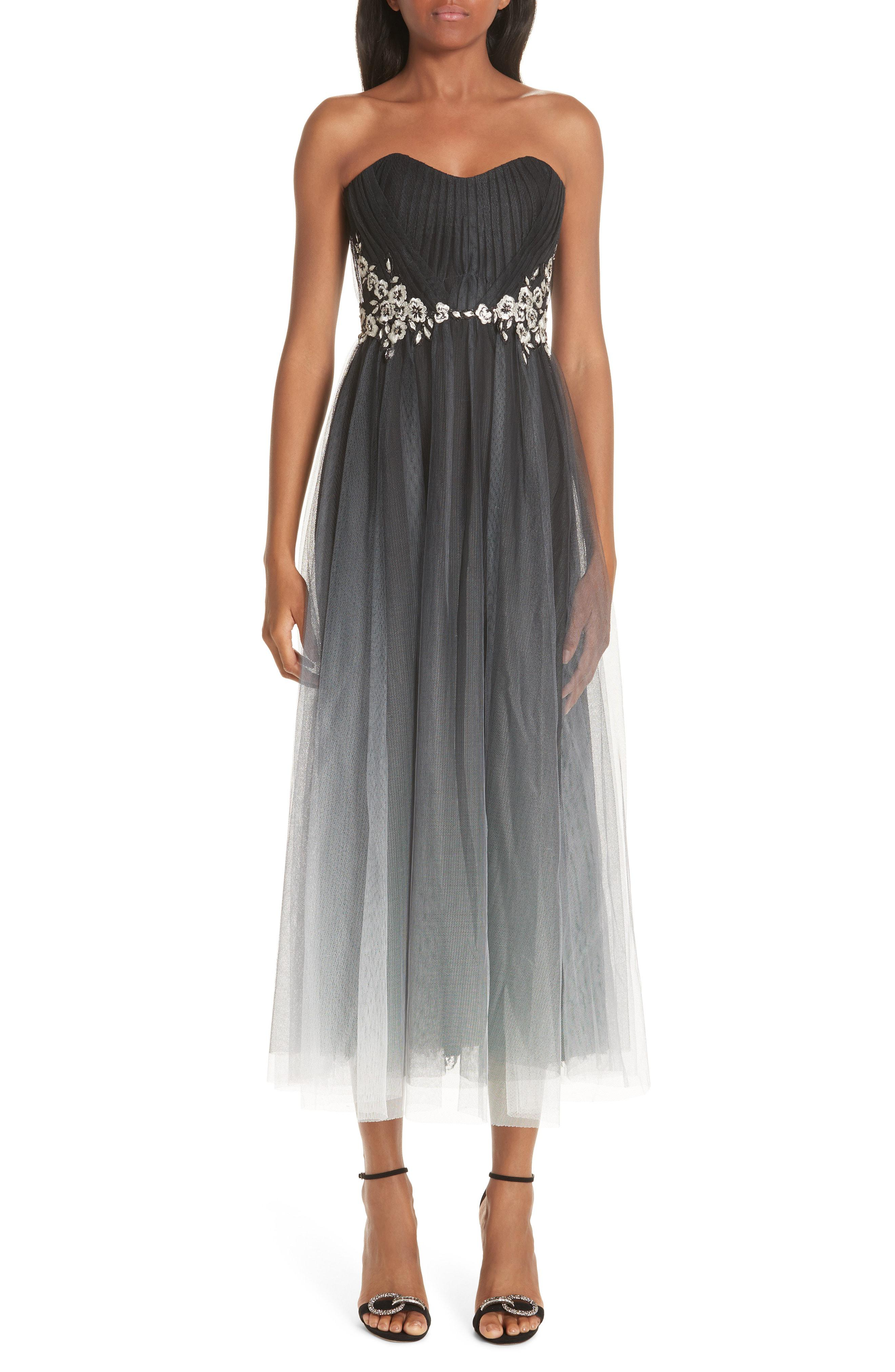 b5eb913f Marchesa notte. Women's Gray Strapless Ombre Tulle Tea Length Dress. $995  $746 From Nordstrom