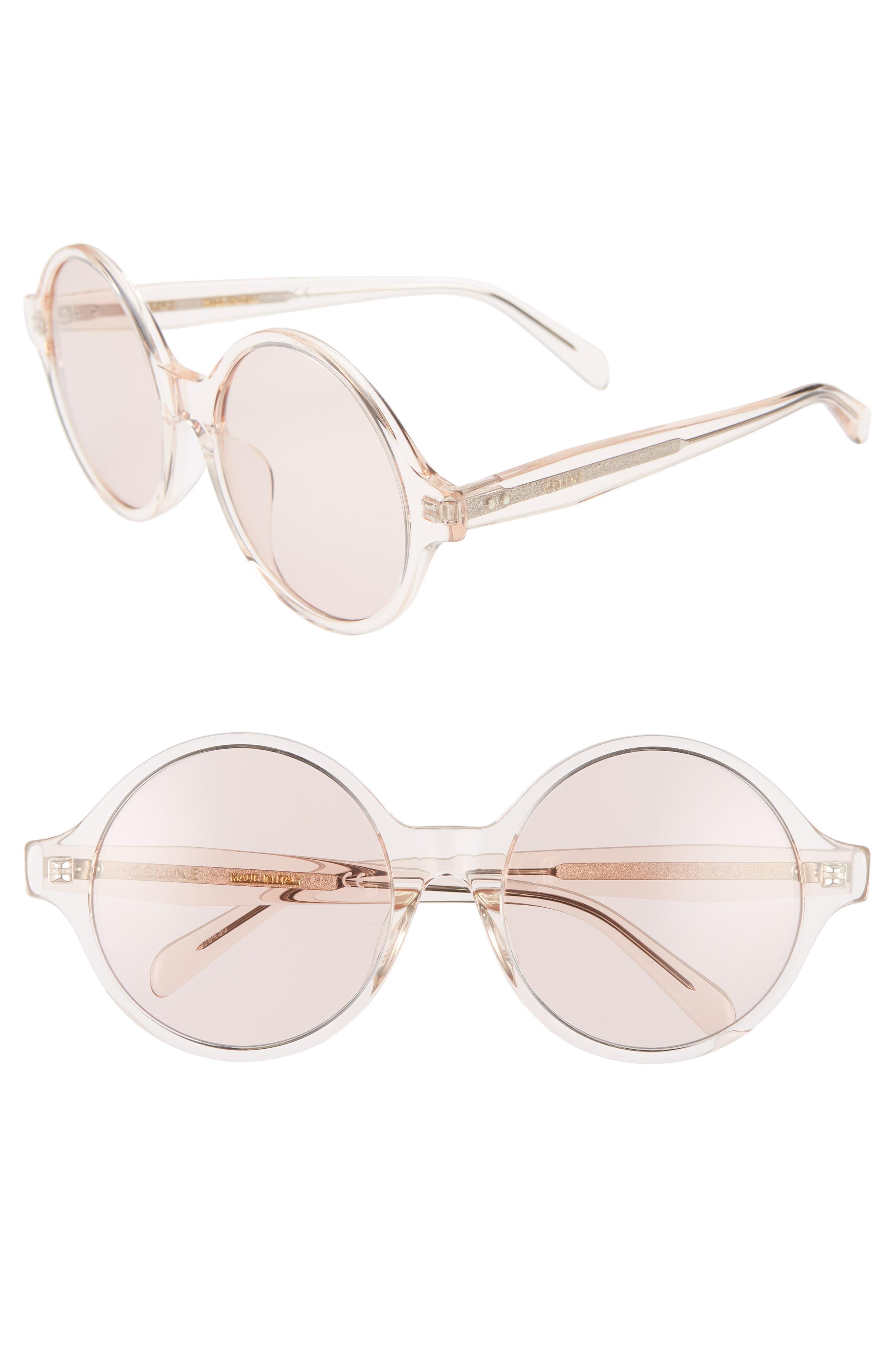 7db10fb7f6 Lyst - Céline 58mm Round Sunglasses - Transparent Light Rose  Pink ...