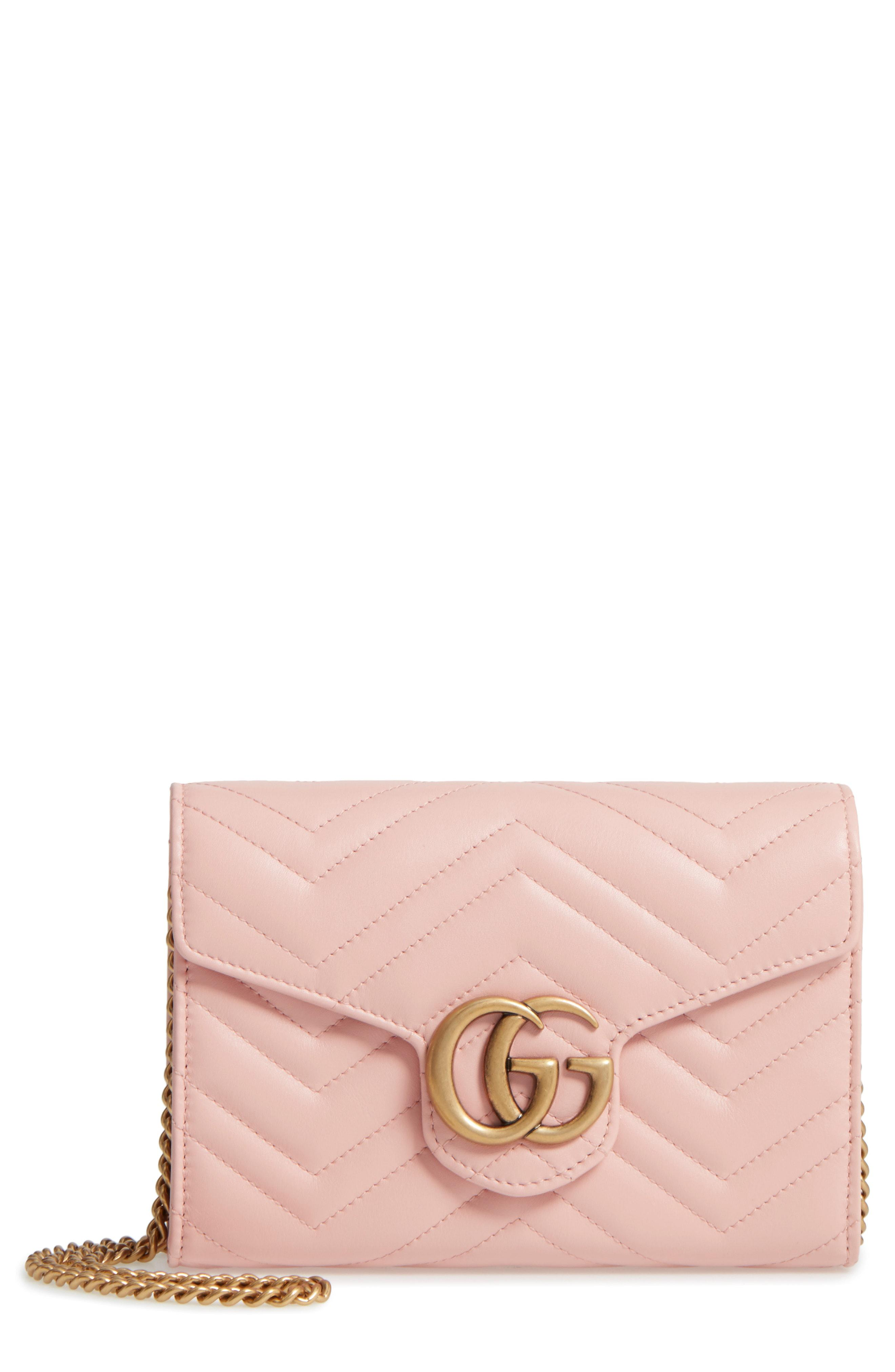 75de880c79c Lyst - Gucci Gg Marmont Matelasse Leather Wallet On A Chain in Pink