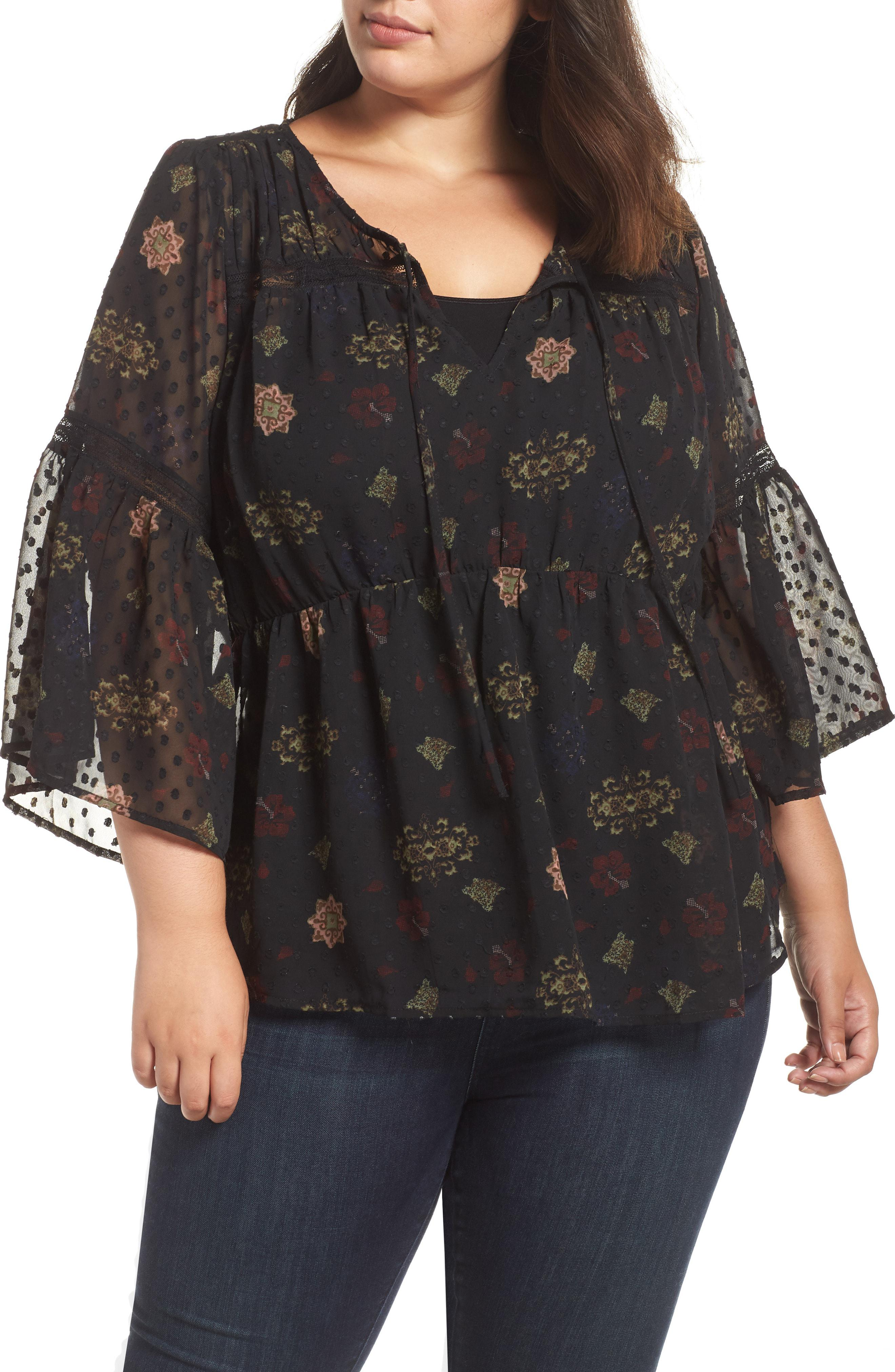 94617a83f14f6f Lyst - Lucky Brand Swiss Dot Floral Top in Black