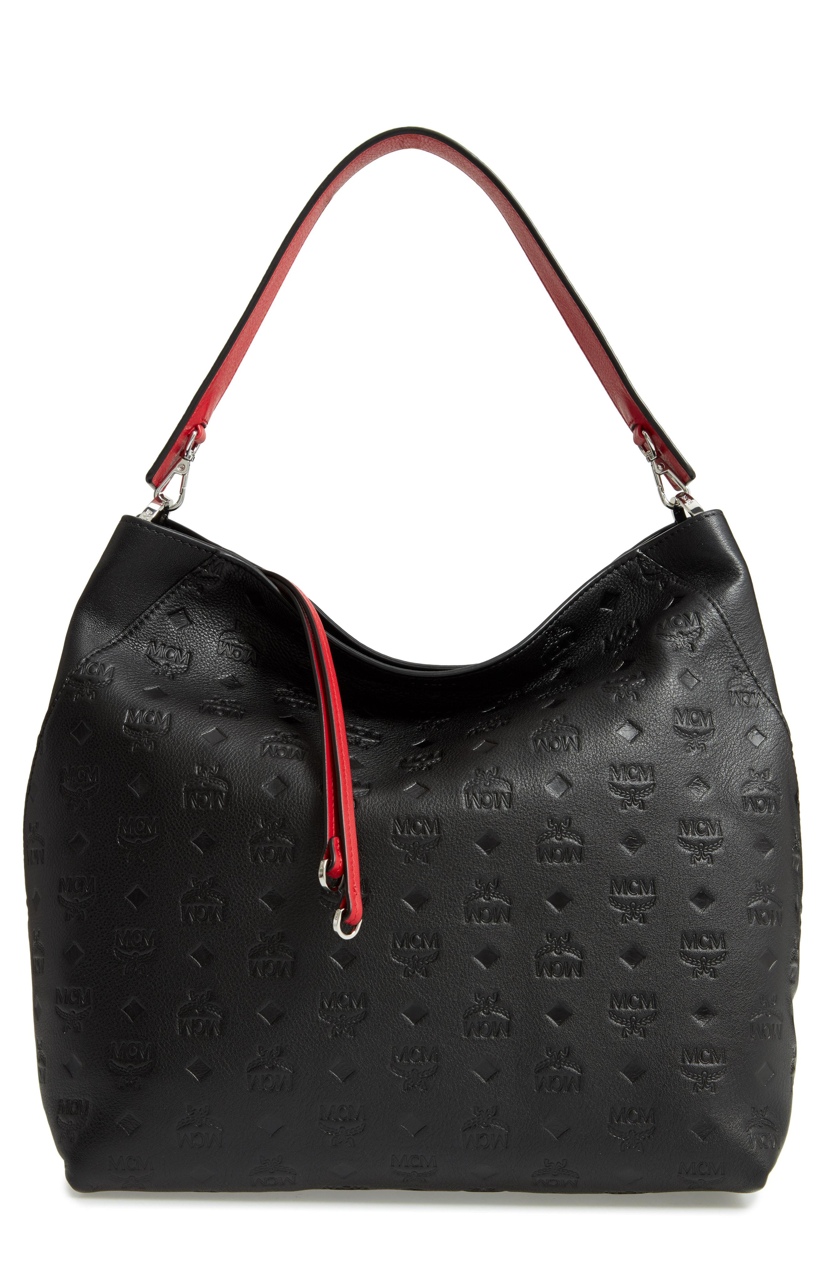 640e522347ba Lyst - MCM Klara Monogrammed Leather Hobo Shoulder Bag in Black