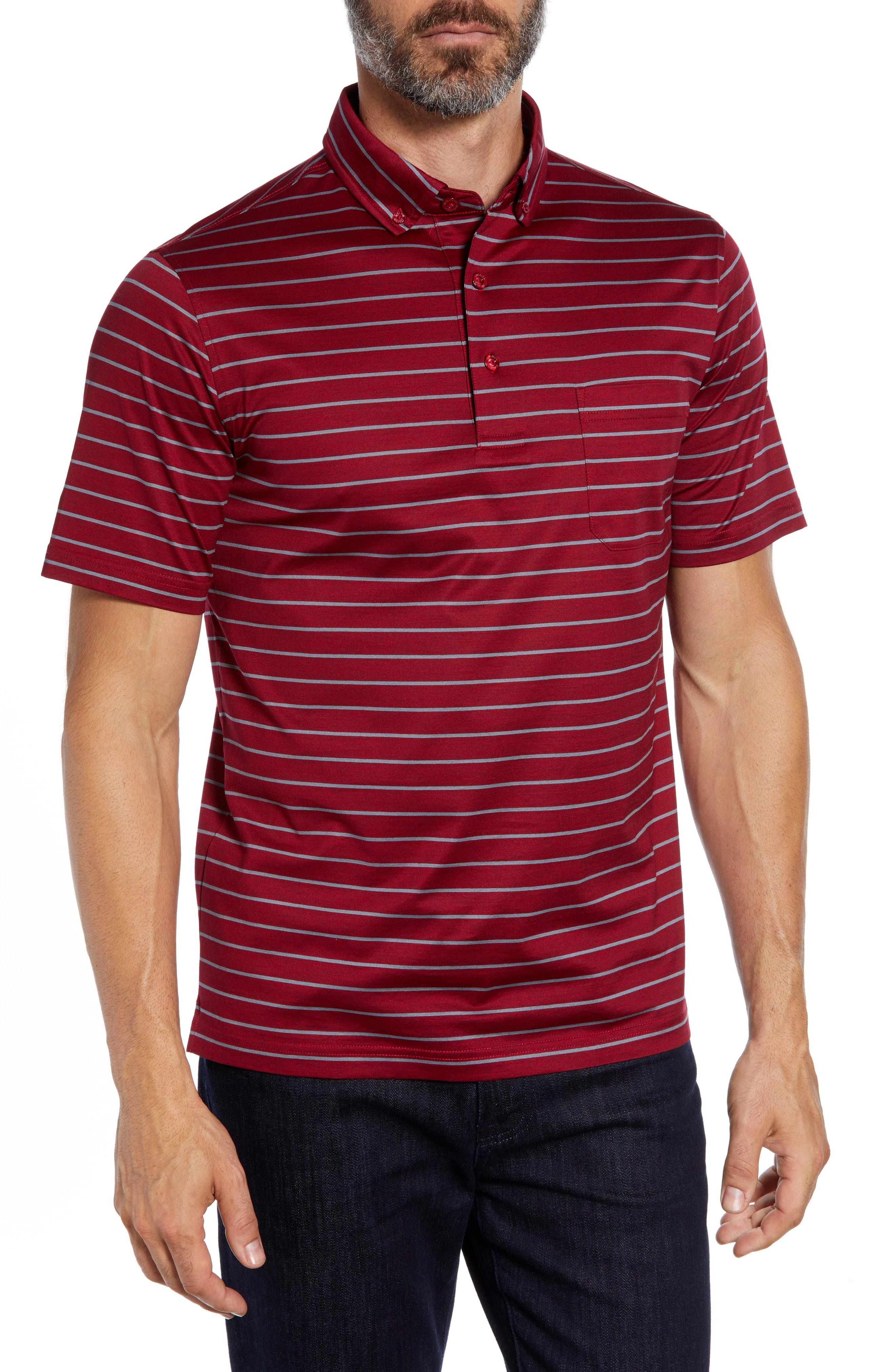 d412acc3 Lyst - Bugatchi Stripe Knit Polo in Red for Men - Save 41%