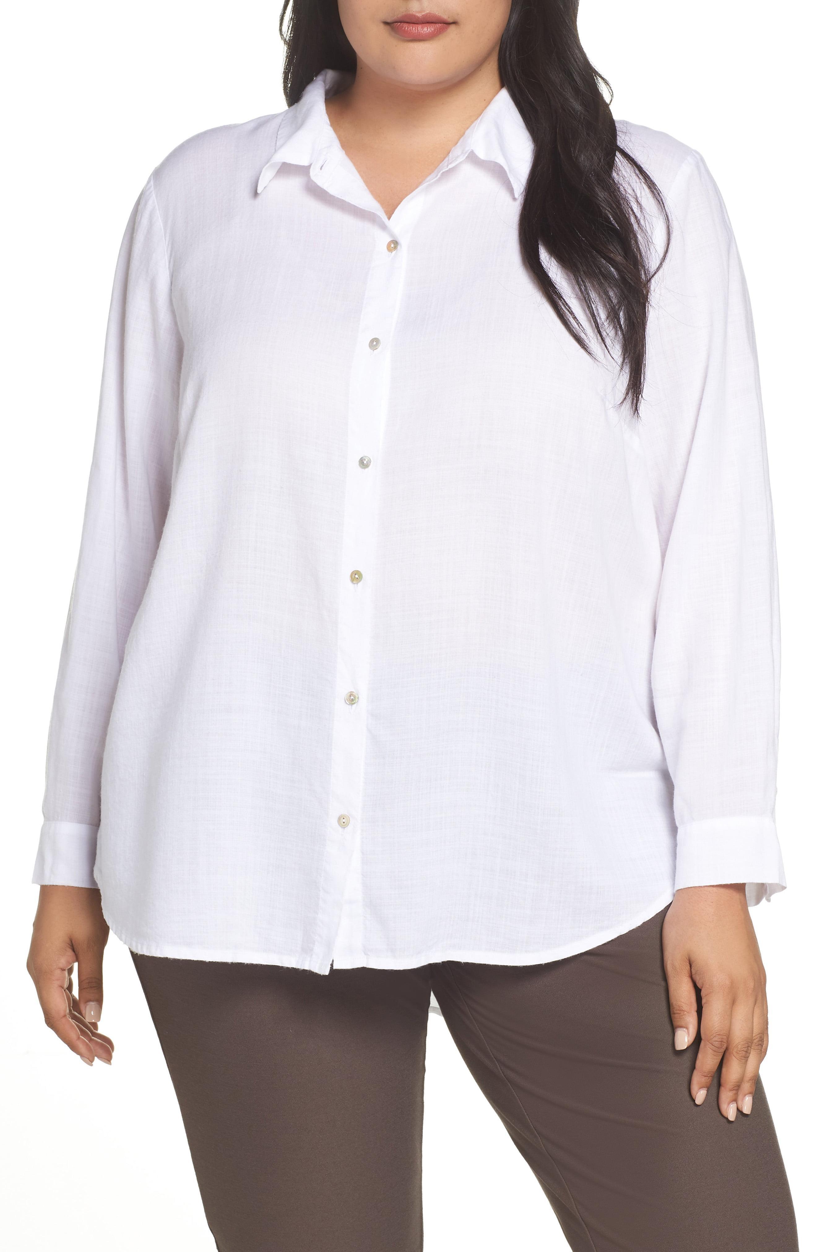 23249bde0e09d Lyst - Eileen Fisher Lyocell Shirt in White