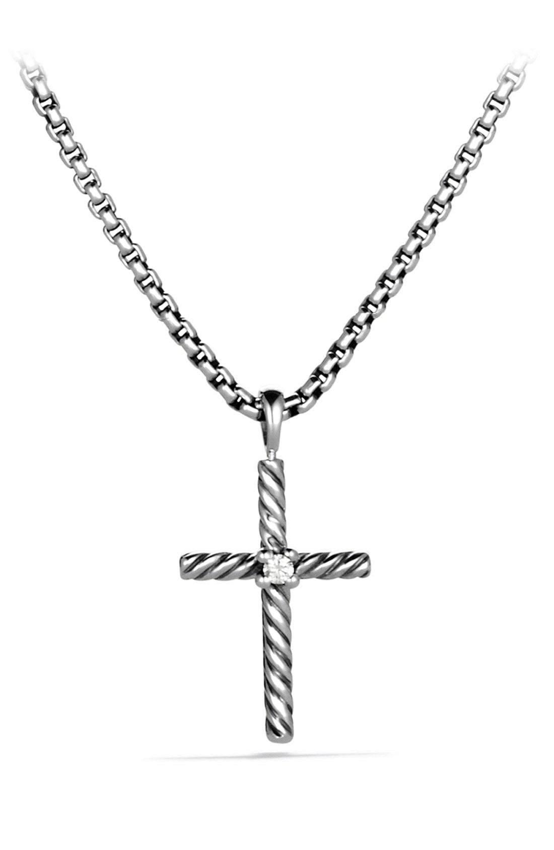 719c6d0a36f99c Lyst - David Yurman 'cable Classics' Cross With Diamond On Chain in ...