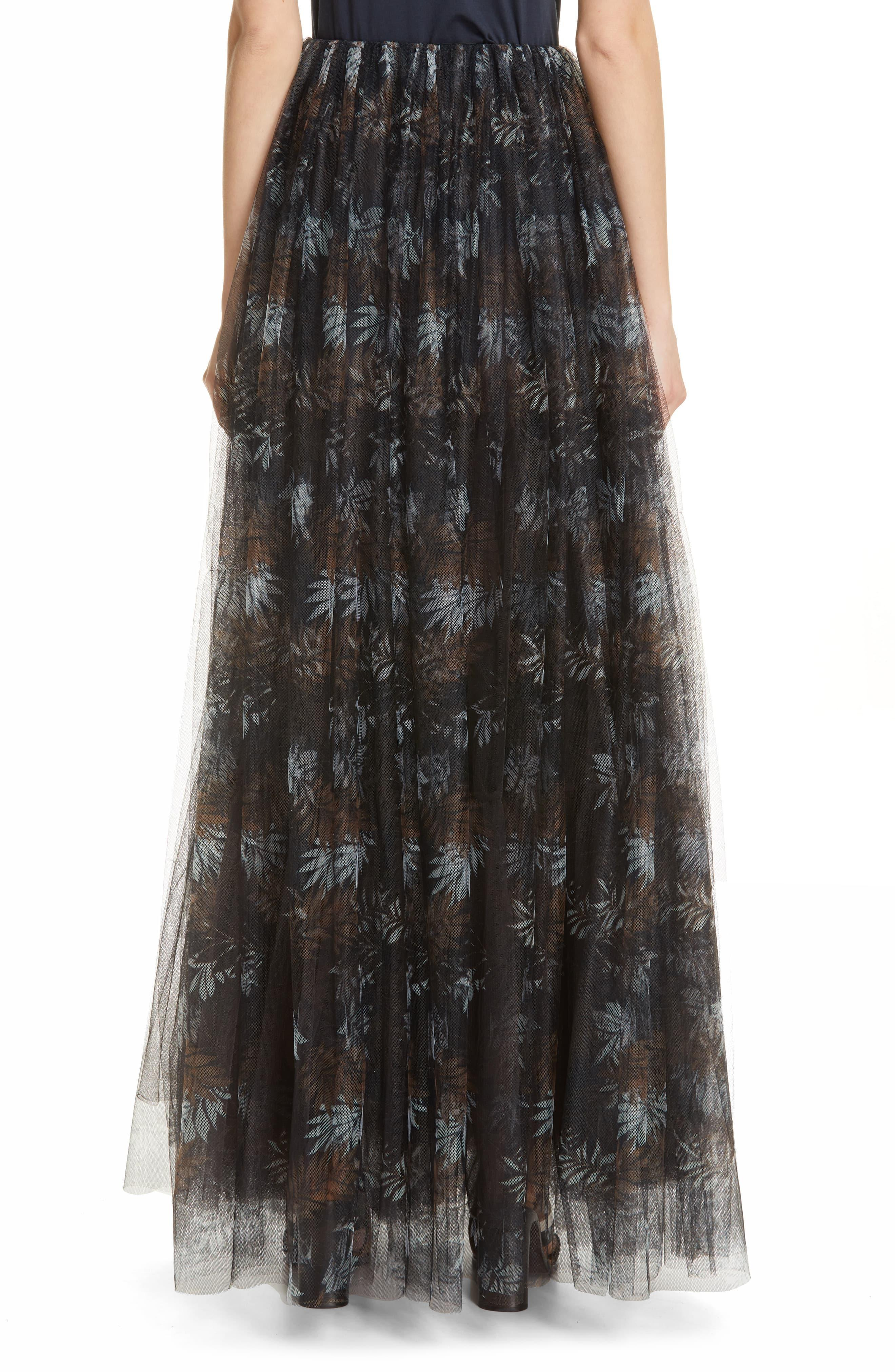 6ad4c30f3 Brunello Cucinelli - Black Floral Print Tulle Maxi Skirt - Lyst. View  fullscreen