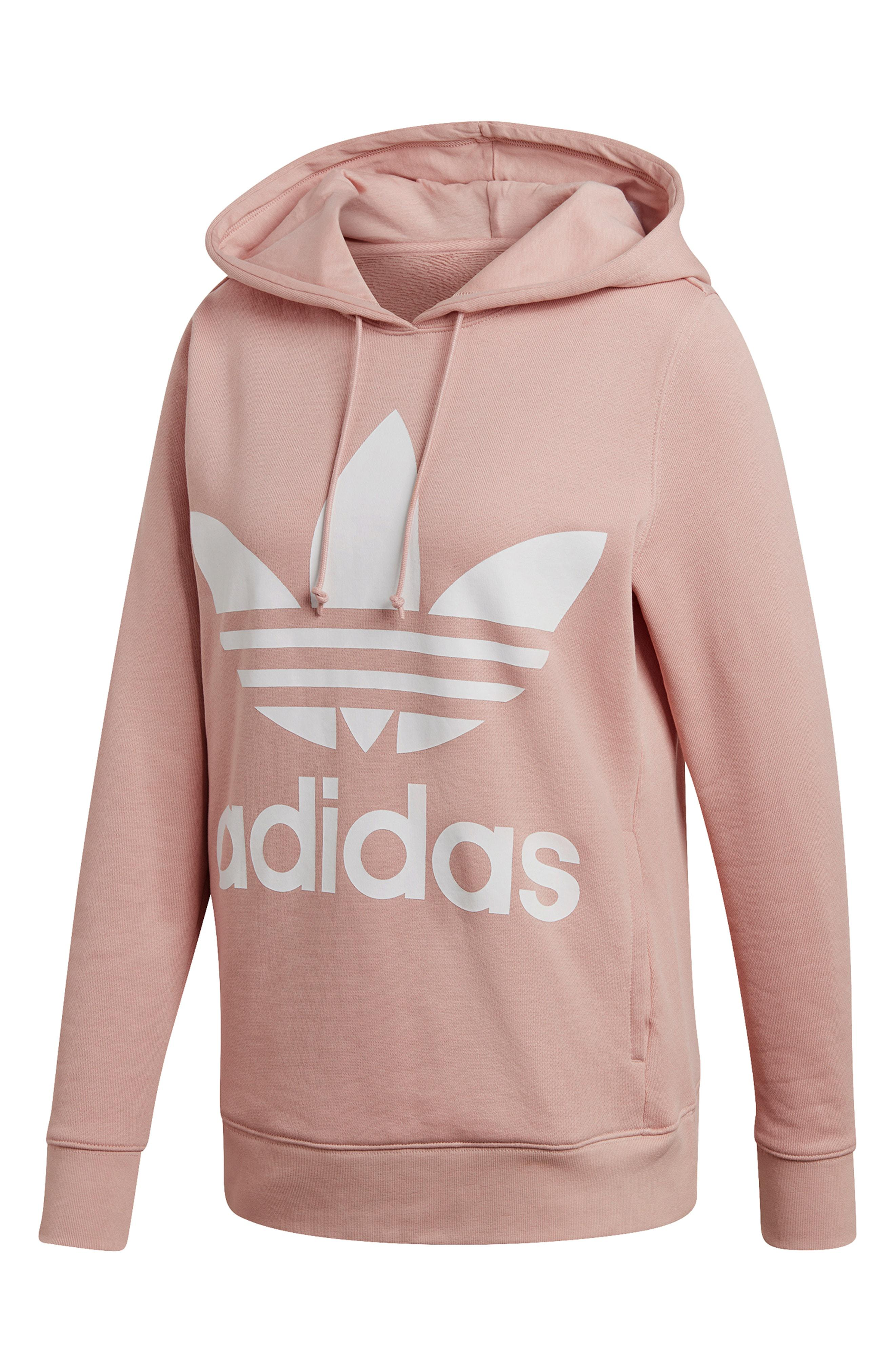 5ab1dc8727cf Lyst - Adidas Originals Trefoil Hoodie in Pink
