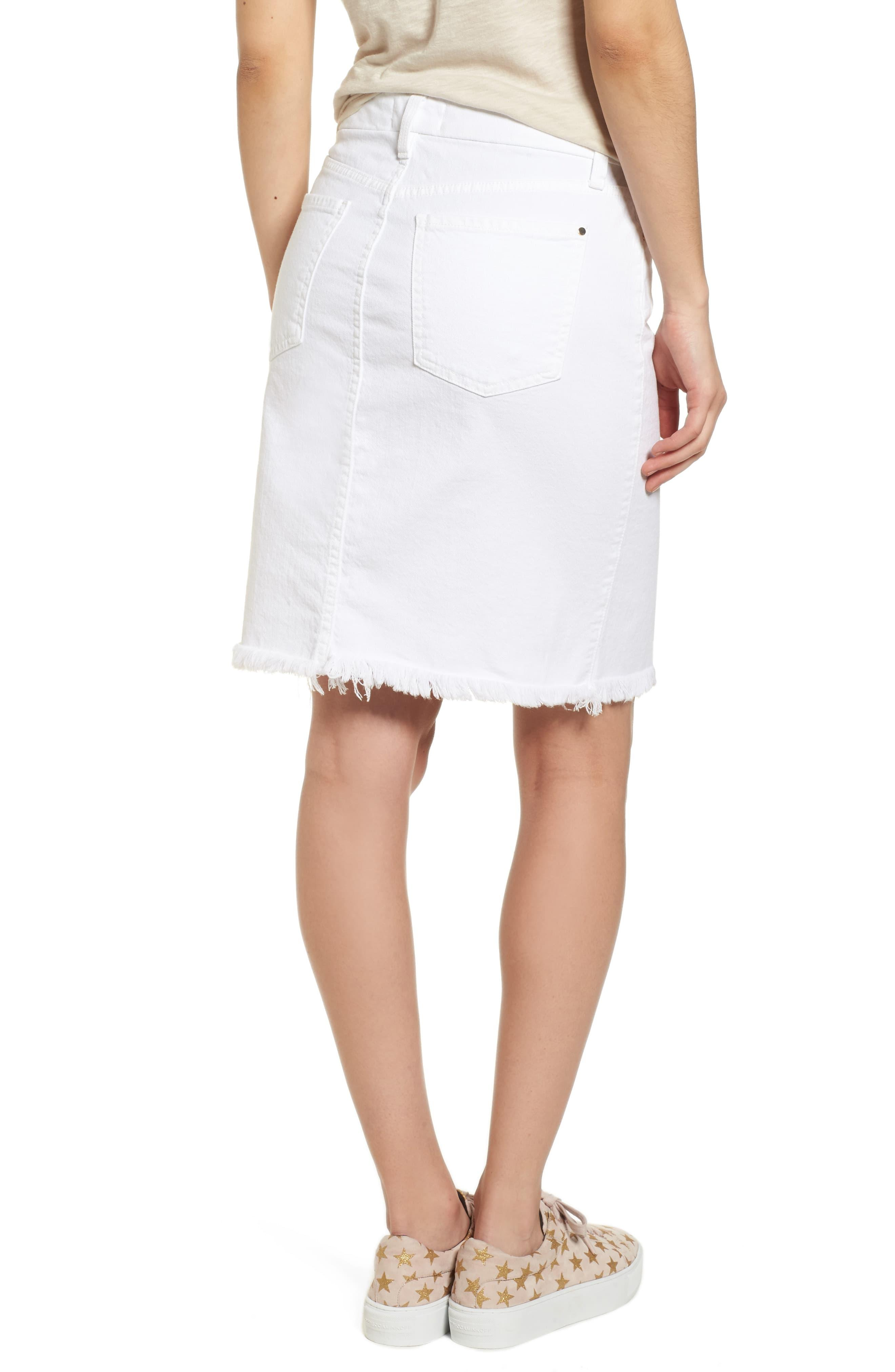 71abac82ee 7 For All Mankind Frayed Hem Denim Pencil Skirt in White - Lyst