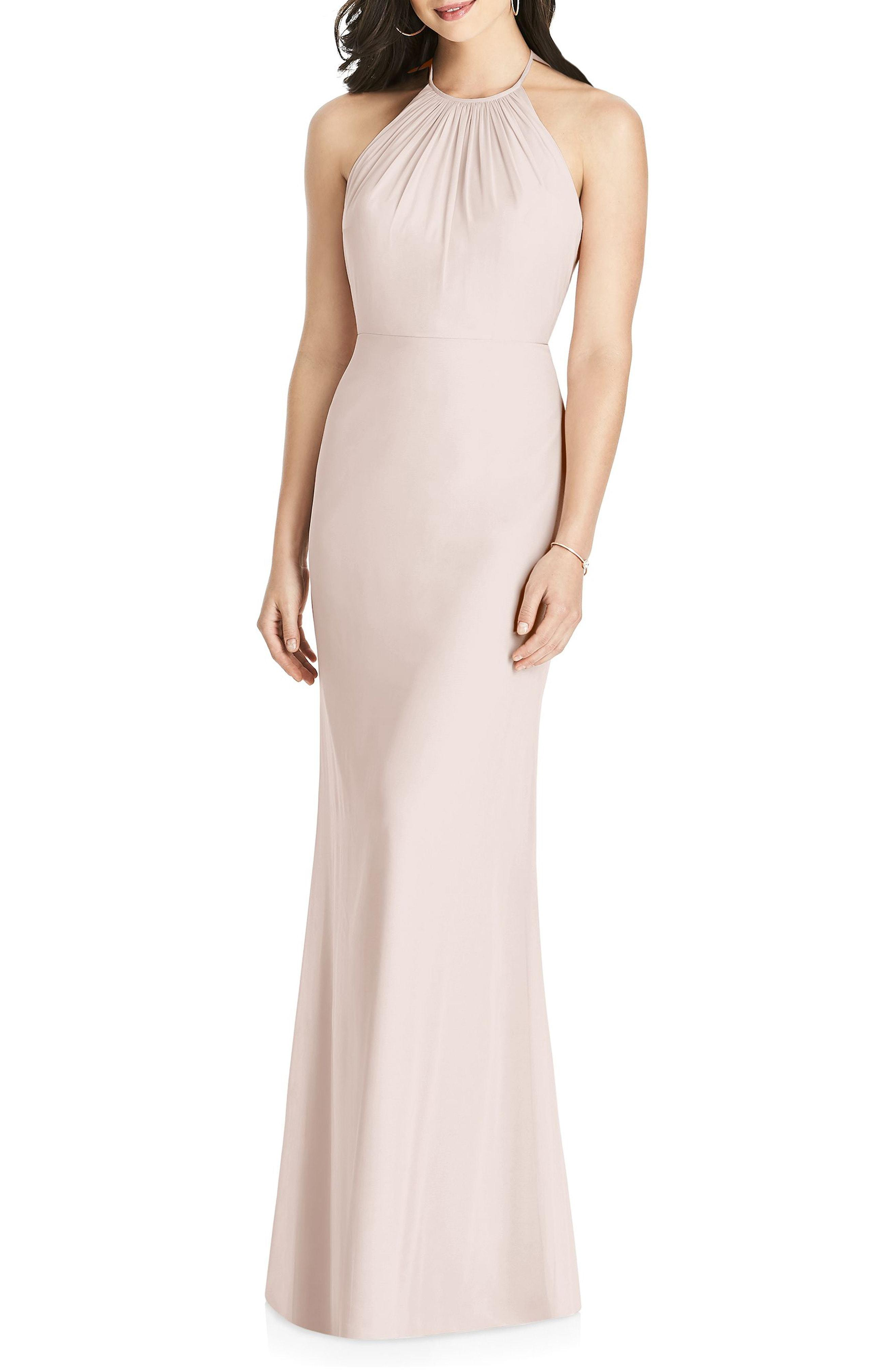 5cb1f82cd3 Lyst - Dessy Collection Ruffle Back Chiffon Halter Gown in Pink
