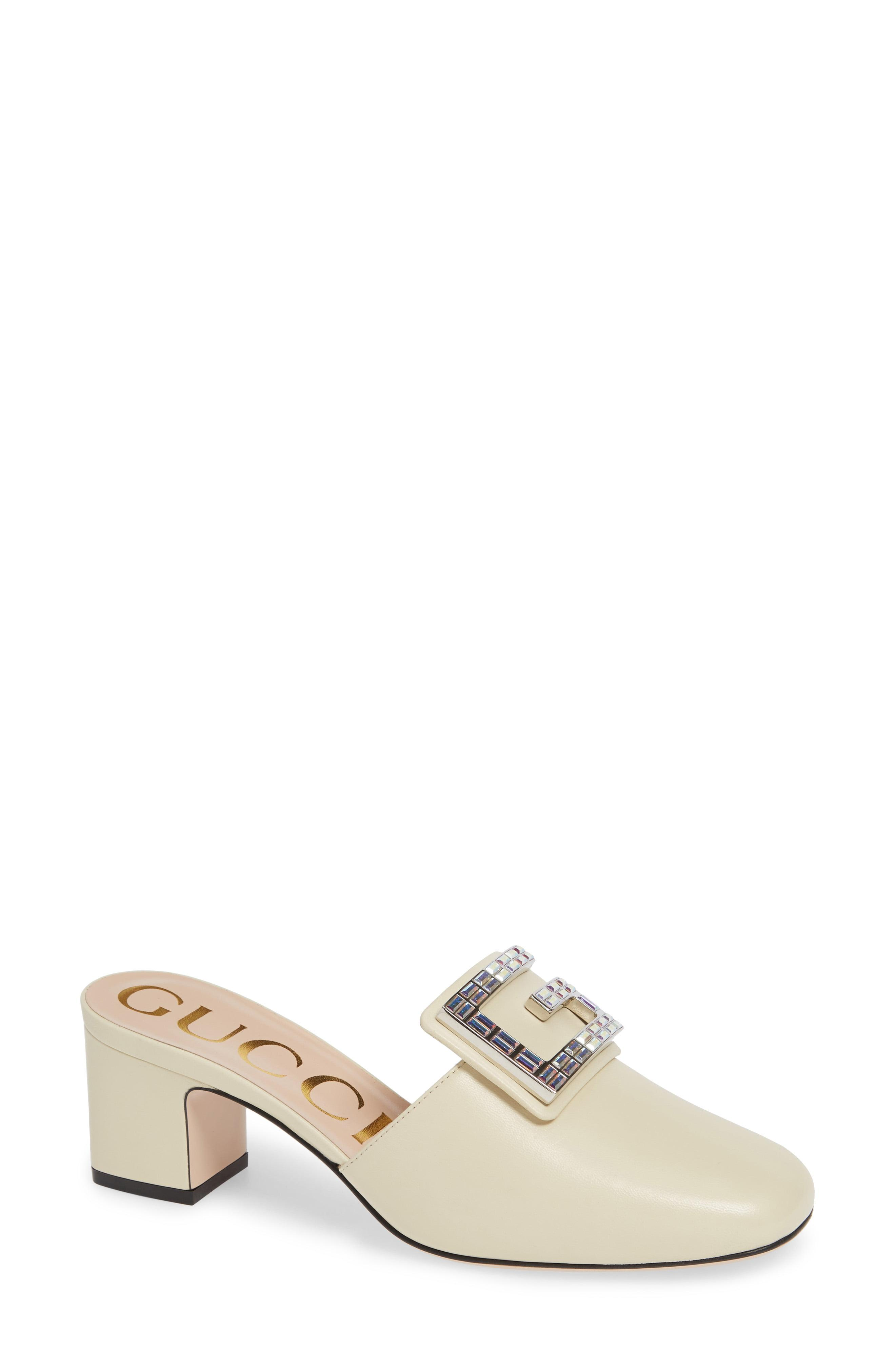 5699c279f15 Lyst - Gucci Madelyn Crystal G Mule in White