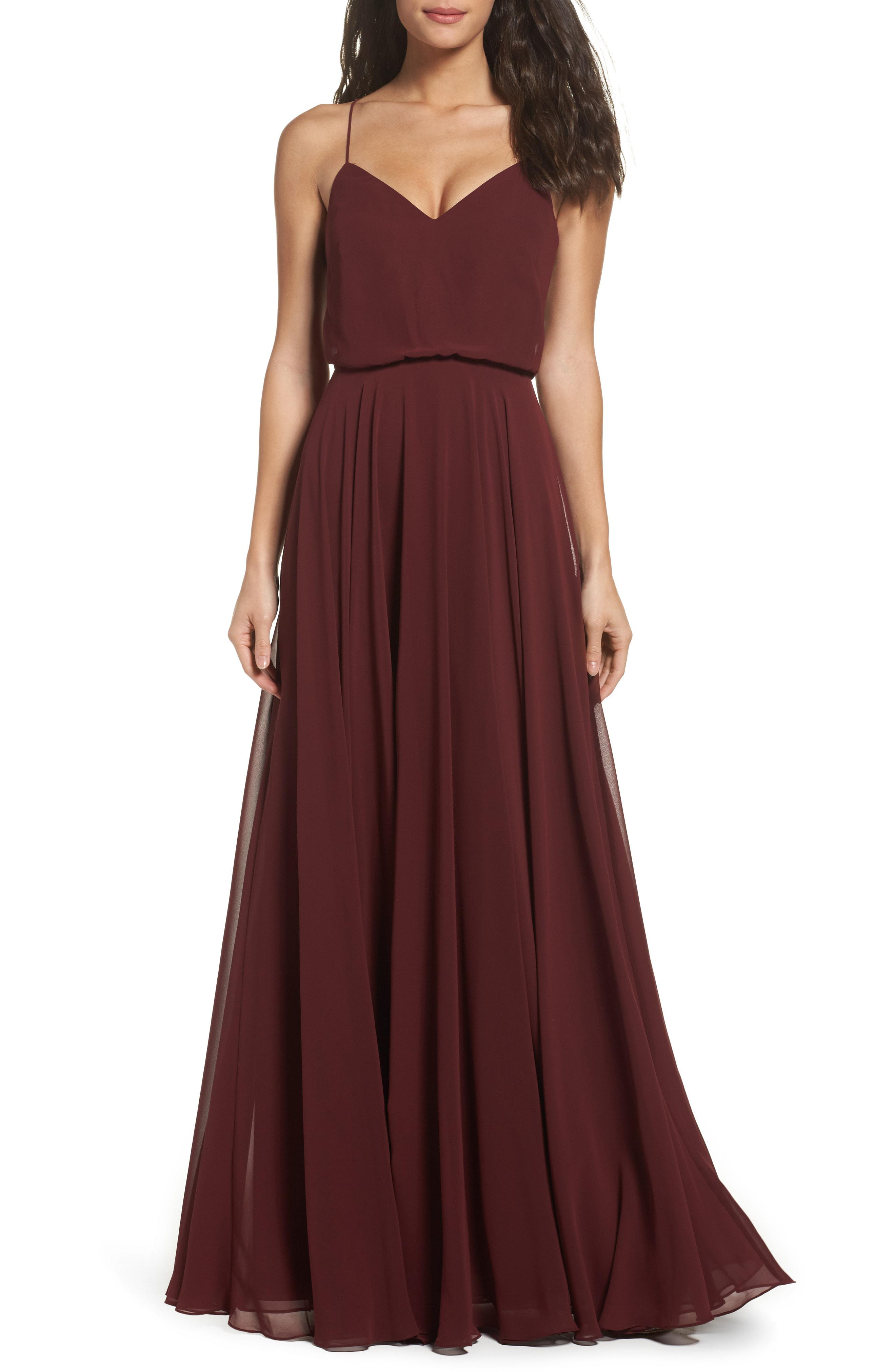 3cc8d9fede Jenny Yoo. Women s Inesse Chiffon V-neck Spaghetti Strap Gown