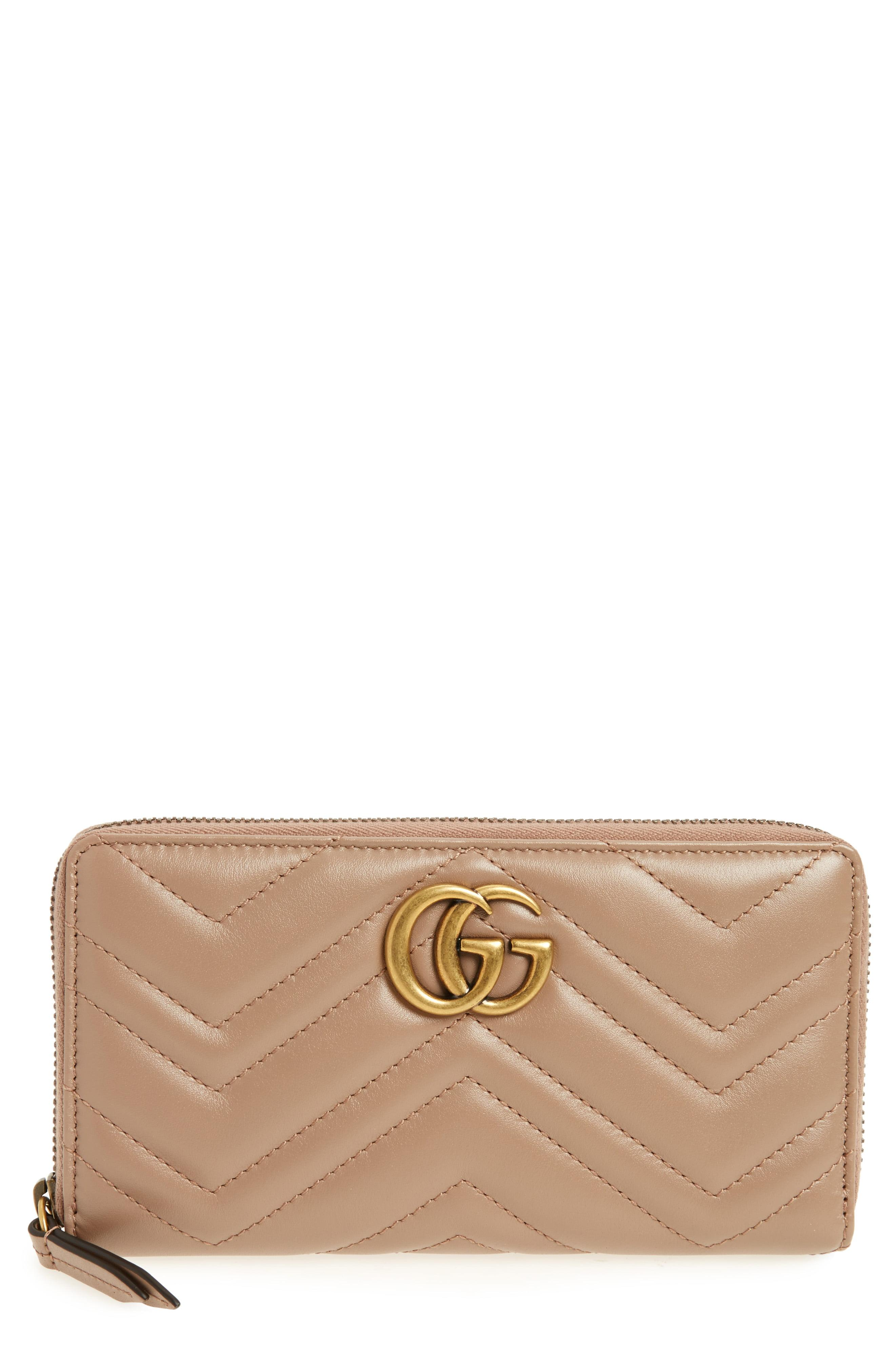 ab4967303 Lyst - Gucci Gg Marmont Matelasse Leather Zip-around Wallet in Pink