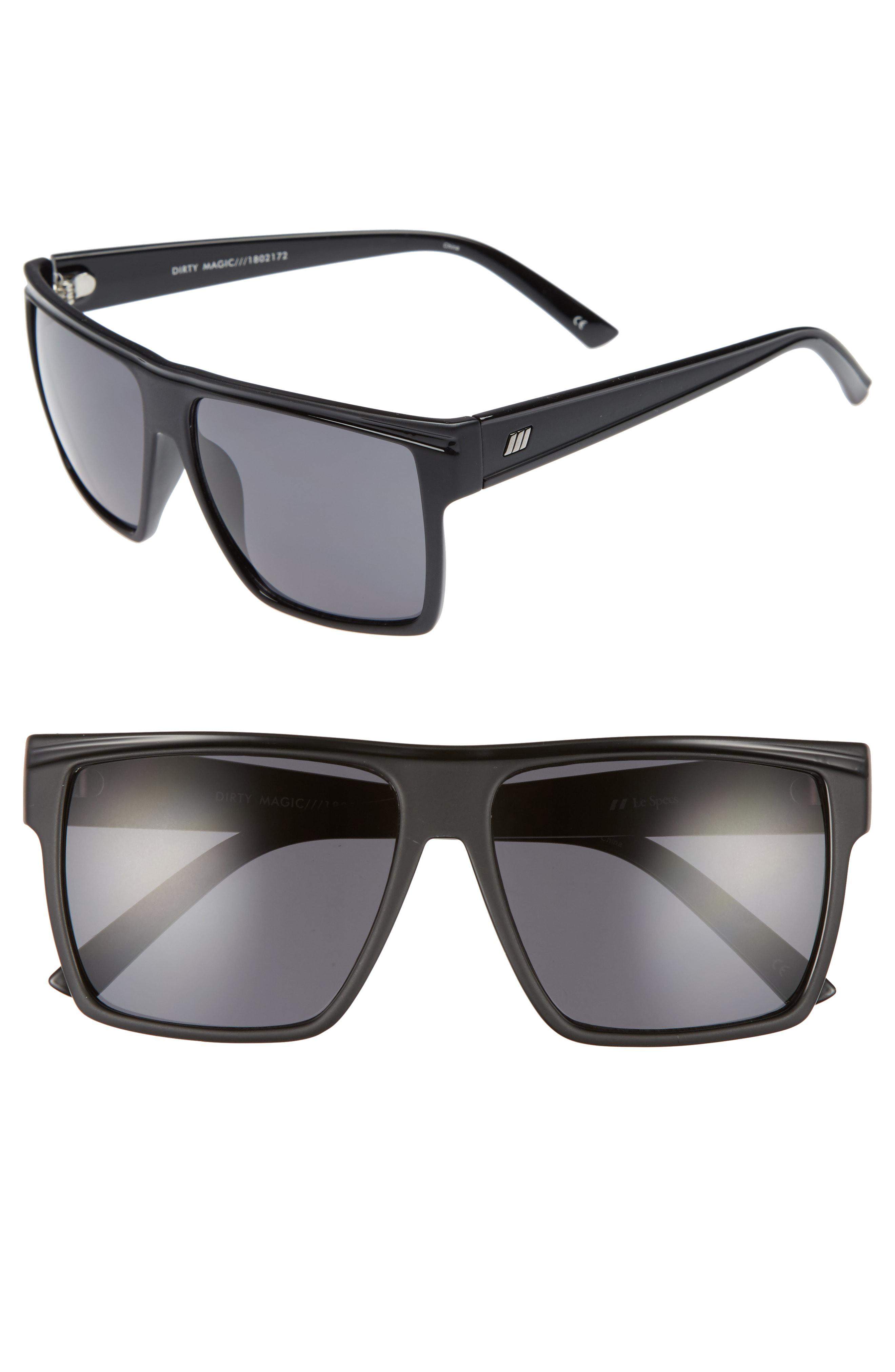 5d5ca11face Lyst - Le Specs Dirty Magic 56mm Rectangle Sunglasses in Black
