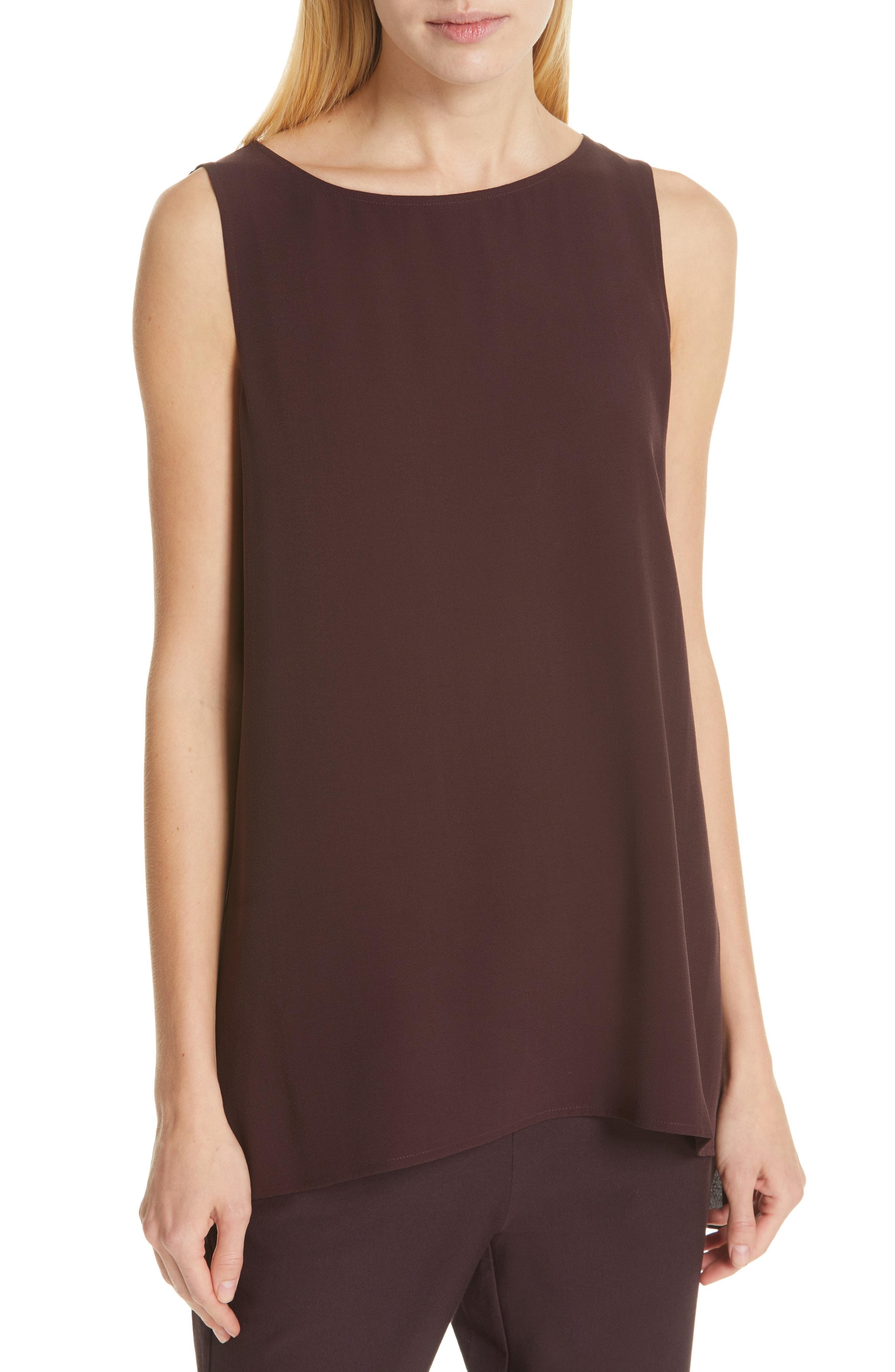 de27c33f3df27 Lyst - Eileen Fisher Long Silk Shell in Brown
