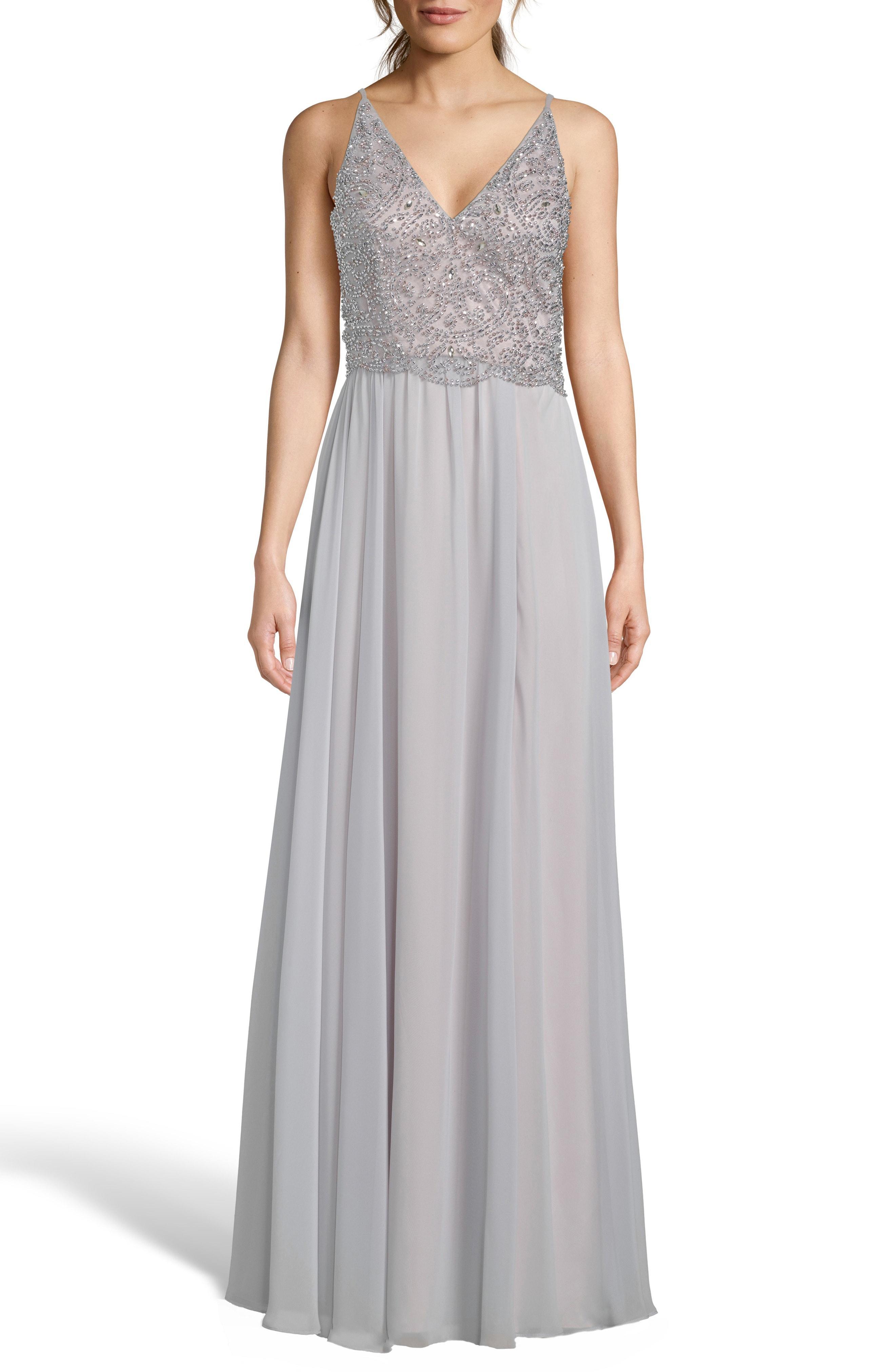 d1f8cd21 Lyst - Xscape Embellished Bodice V-neck Chiffon Evening Dress in Gray