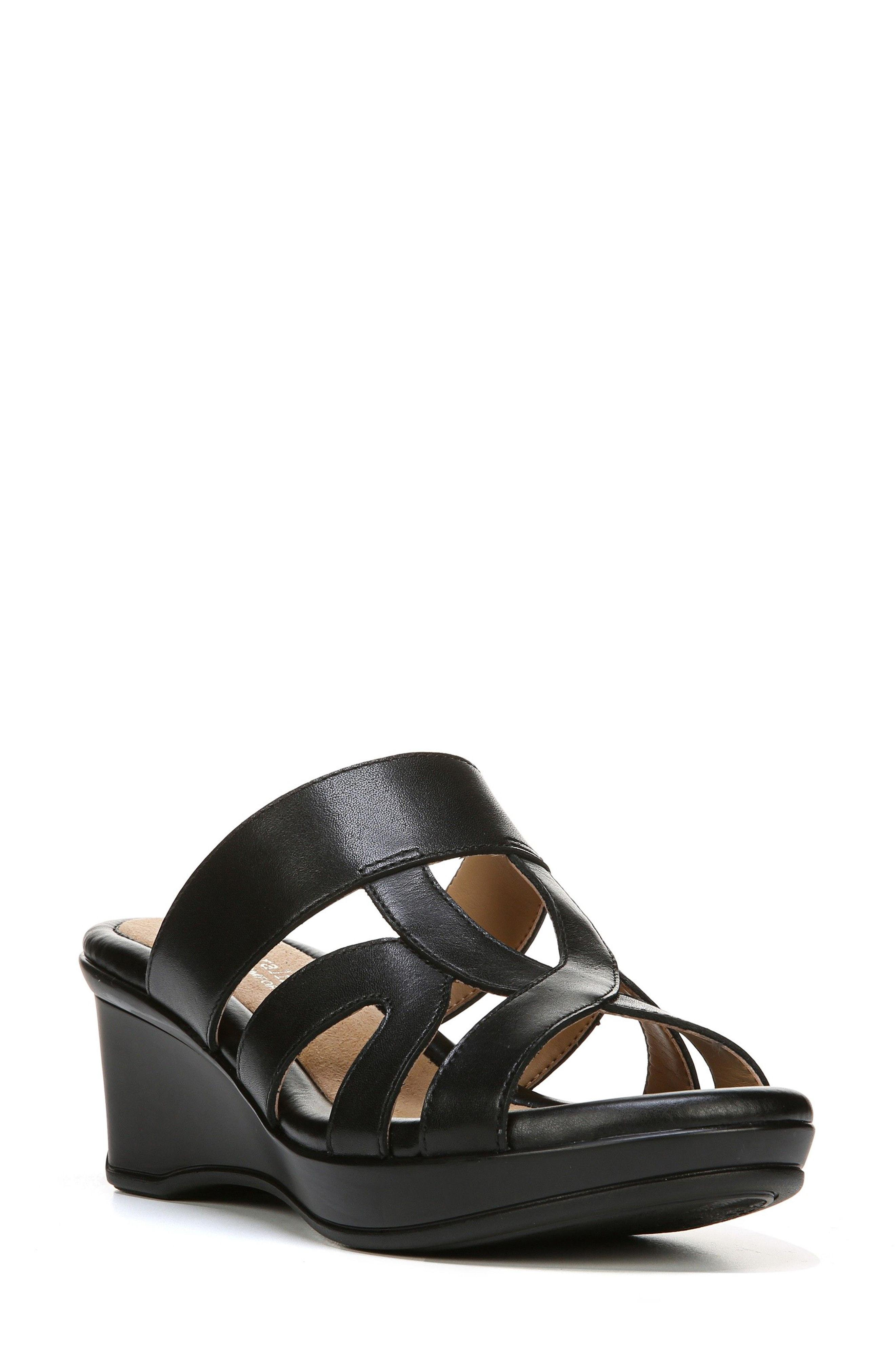 d07a1a8106 Naturalizer Vanity Wedge Sandal in Black - Lyst