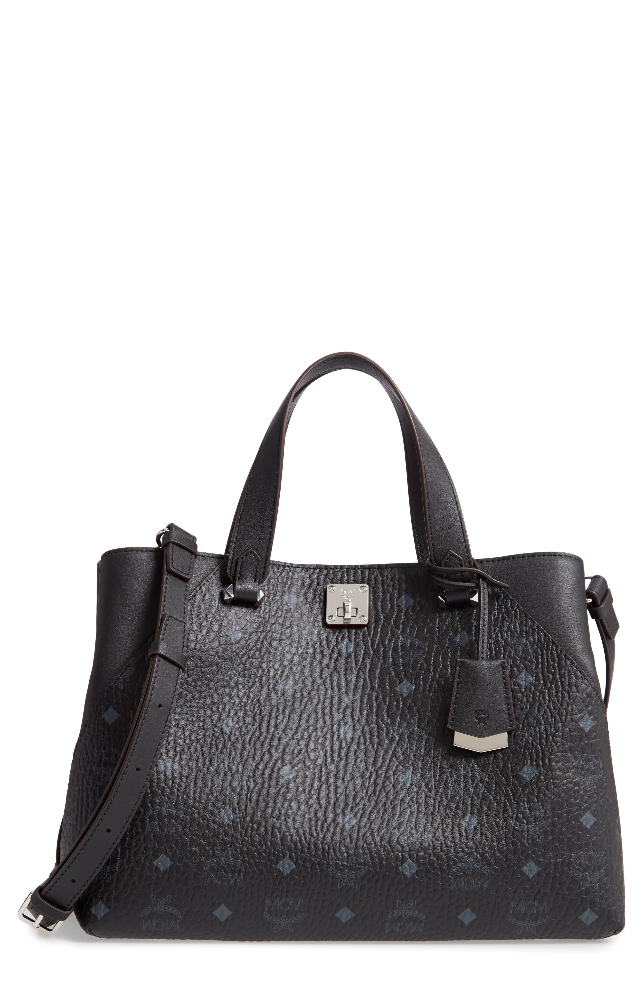 b59d77e8d06 MCM Large Visetos Coated Canvas Tote in Black - Save 17% - Lyst