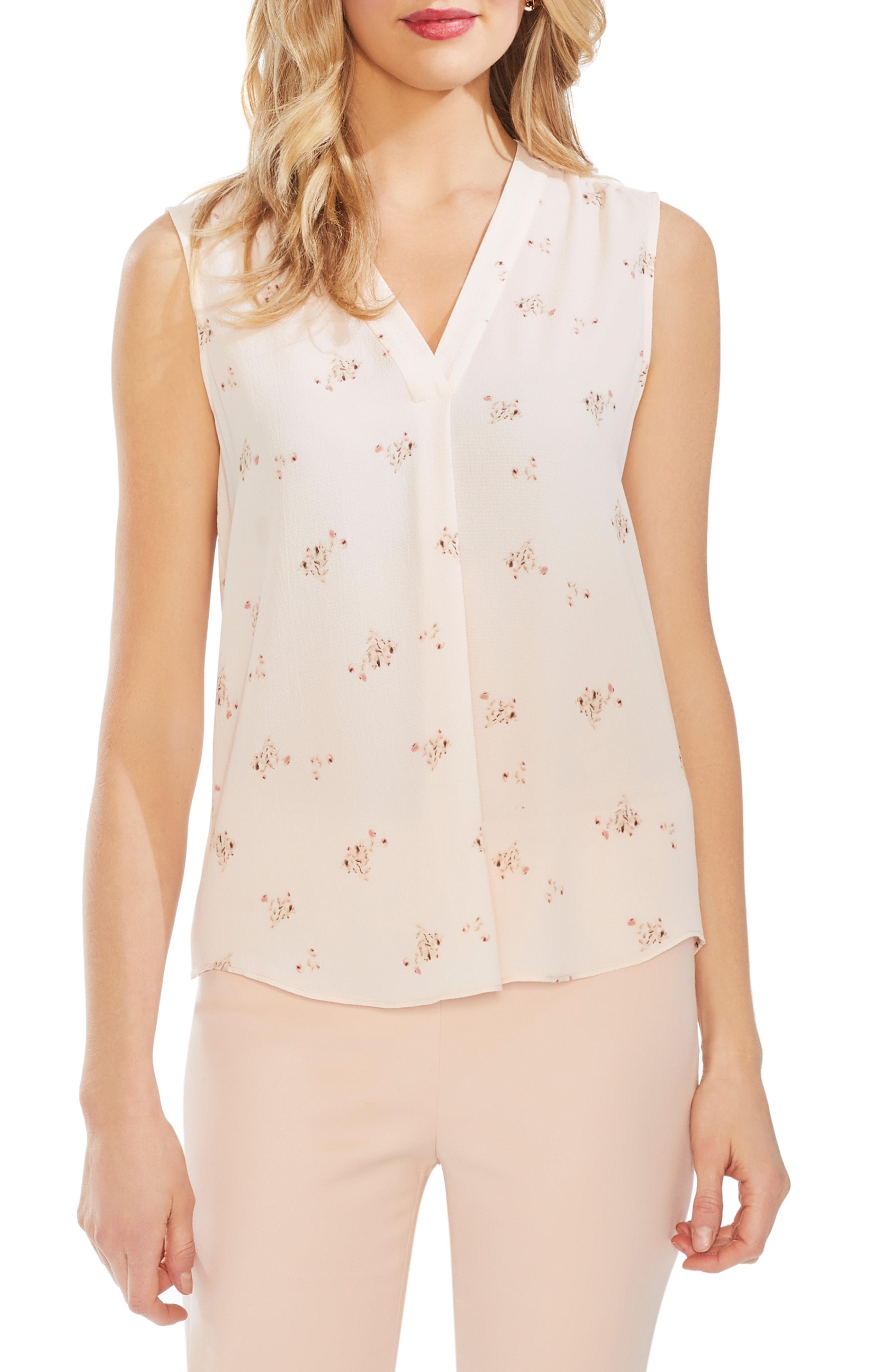391049fba767f Lyst - Vince Camuto Desert Bouquet Sleeveless Blouse in Natural