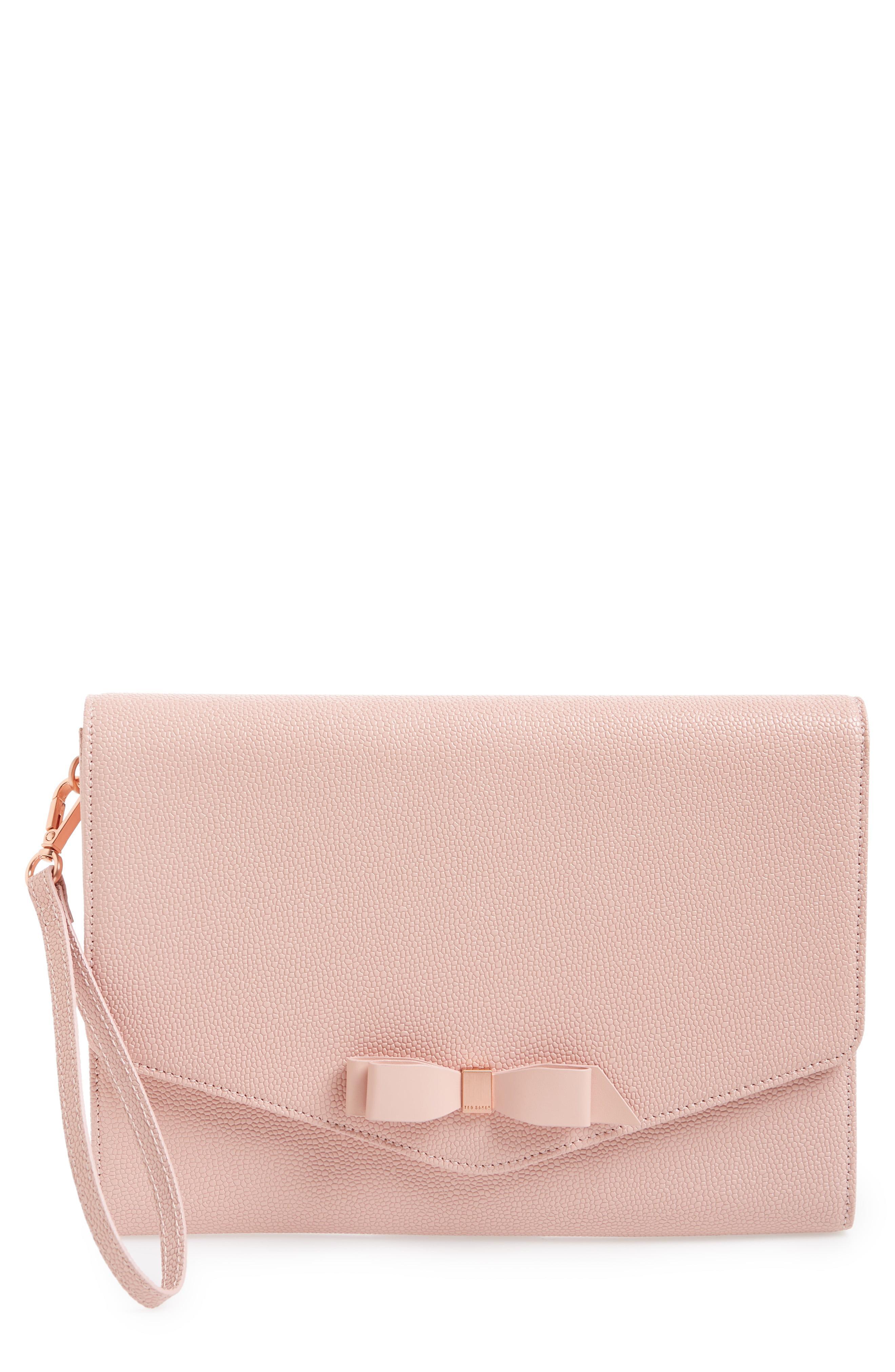 ca47106af Lyst - Ted Baker Krystan Bow Leather Envelope Clutch - in Pink