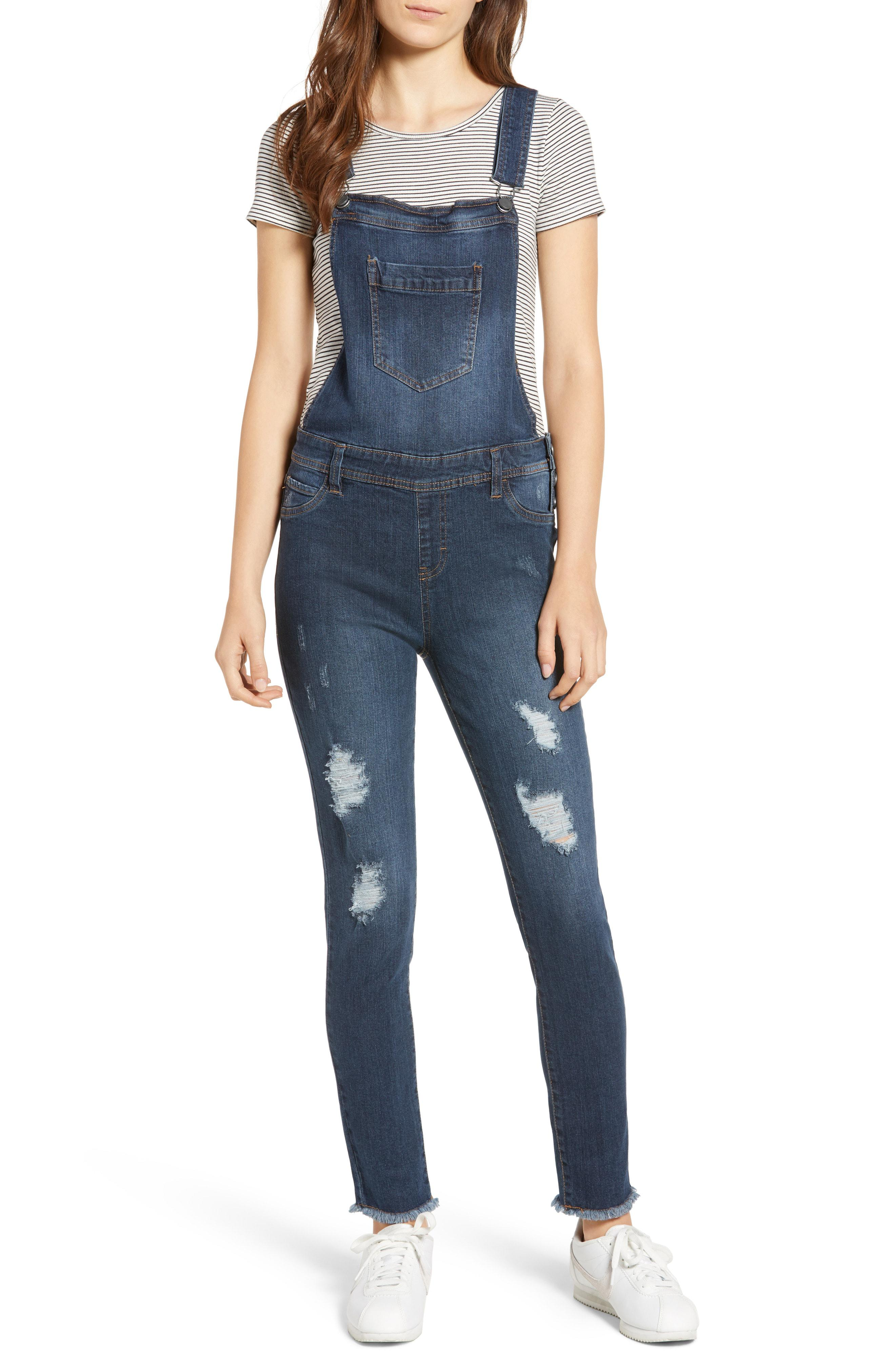 c9a2a1583702 Lyst - Tinsel Ripped Skinny Overalls in Blue - Save 68%