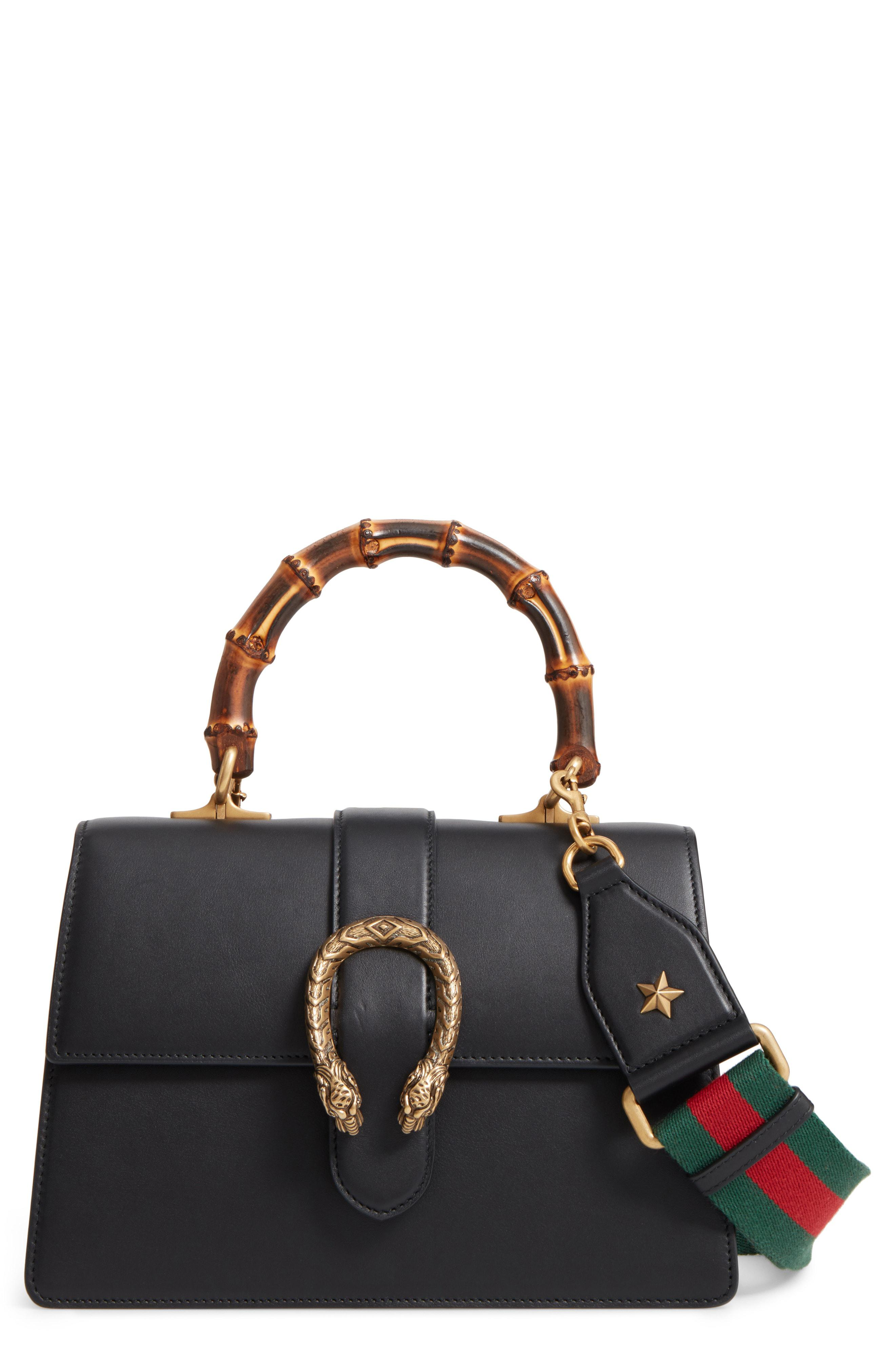 e4ae9670aa7 Lyst - Gucci Large Dionysus Top Handle Leather Shoulder Bag in Black