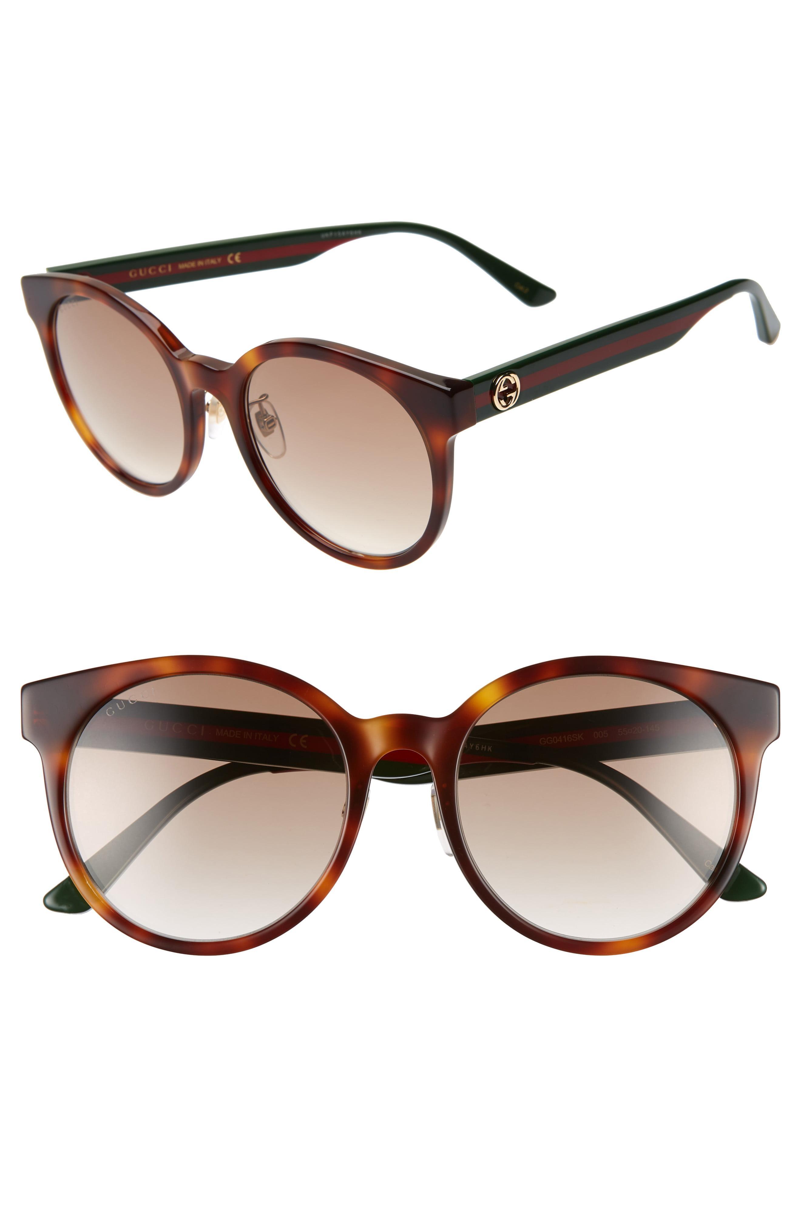 837691f06 Lyst - Gucci 55mm Round Sunglasses - Havana/ Multi/ Brown Gradient ...