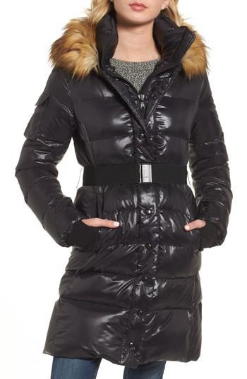 Lyst S13 Nyc Chalet Hooded Puffer Coat With Faux Fur