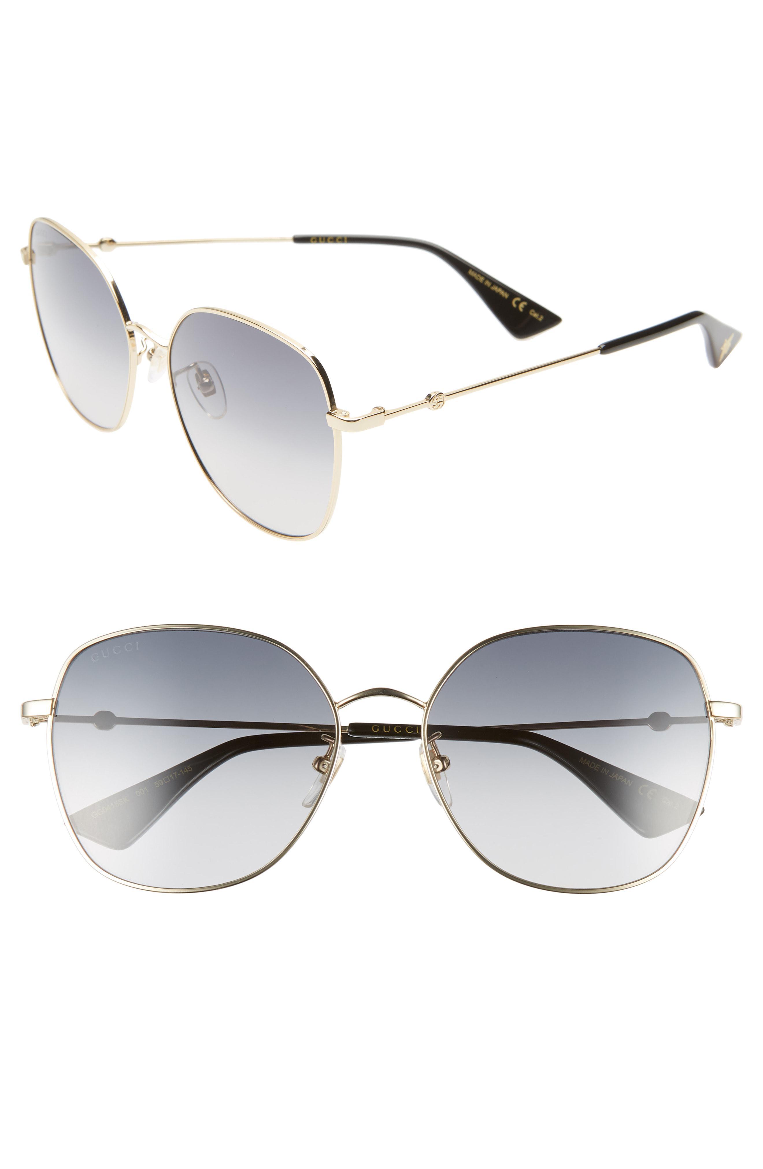 85ec1c146c Lyst - Gucci 59mm Round Sunglasses in Metallic