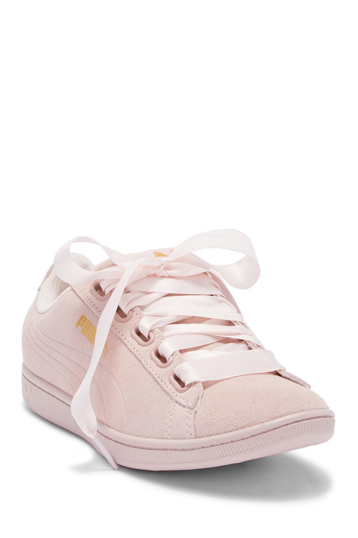2cd6d9b07ed Puma Vikky Ribbon Suede Sneaker in White - Lyst