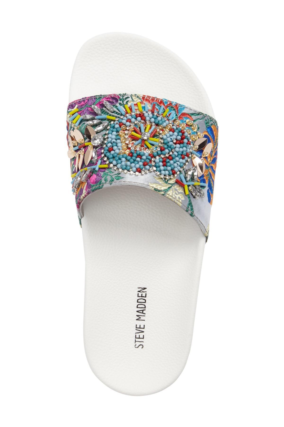 f8e46f65a15 Lyst - Steve Madden Sparkly Slide Sandal in White