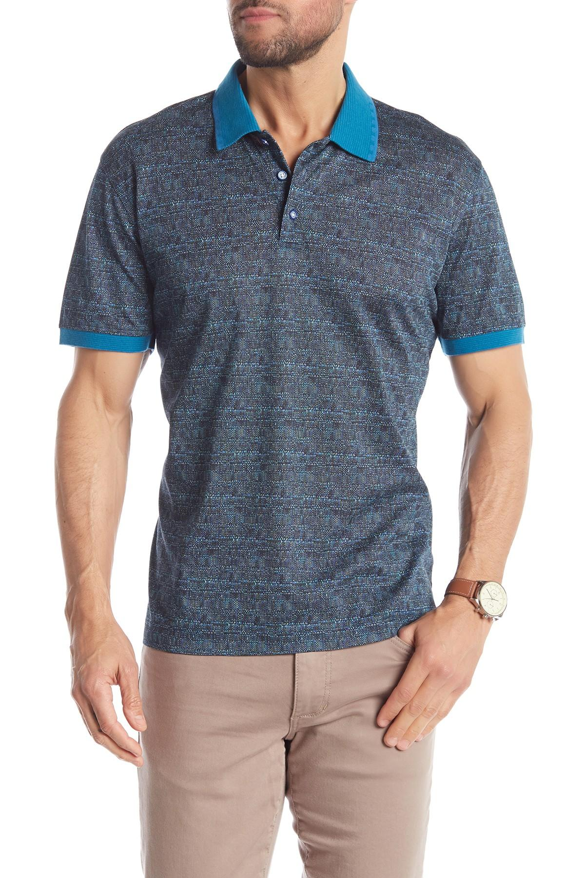 ff4f5607 Robert Graham - Blue Lewis Patterned Short Sleeve Polo for Men - Lyst. View  fullscreen