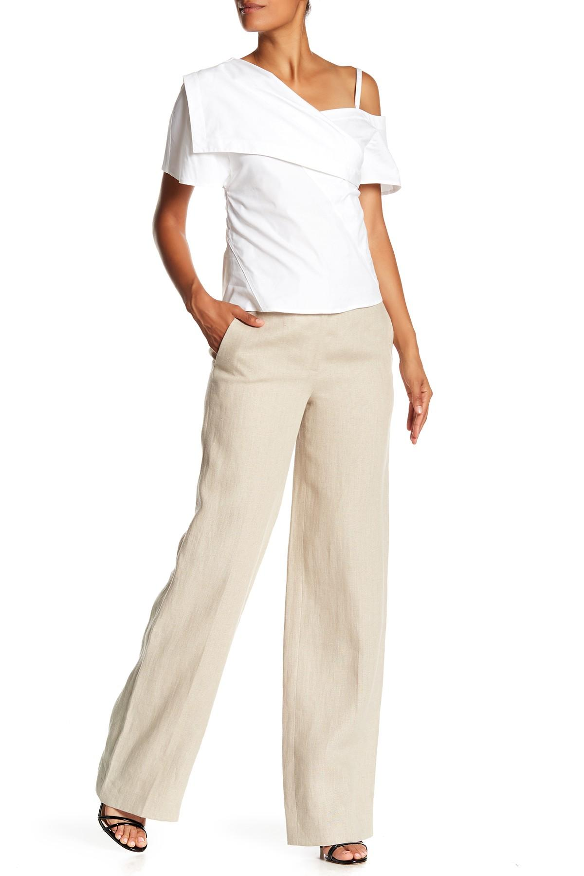 6aa2ef0d7c2 Lyst - Theory Piazza Integrate Wide Leg Linen Pants in Natural