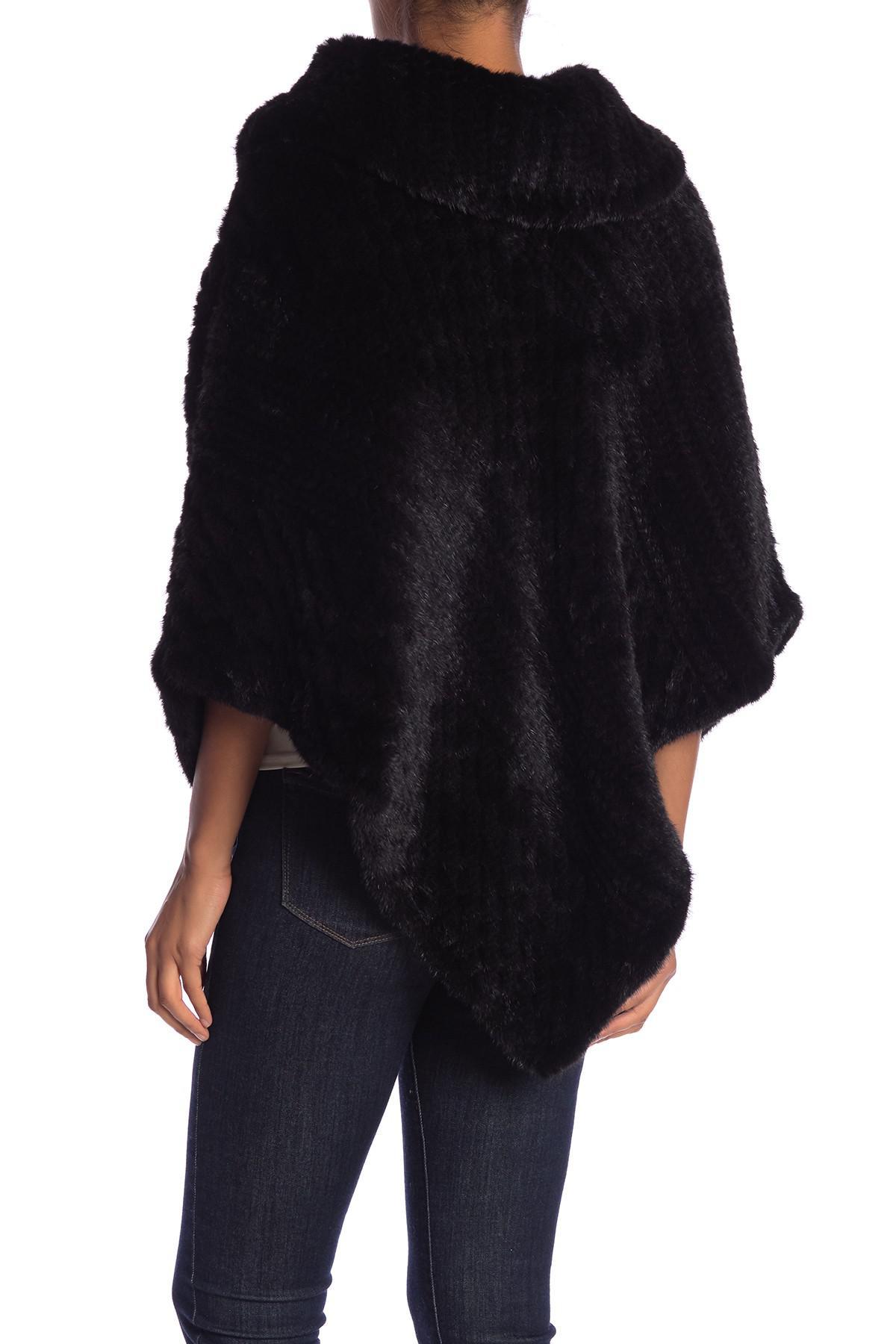 7d78ab1cc Lyst - La Fiorentina Genuine Dyed Mink Fur Poncho in Black