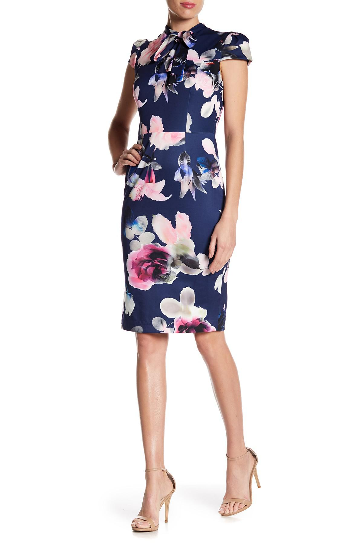 3ed47ecaddc99b Betsey Johnson Tie Neck Scuba Floral Print Midi Dress in Blue - Lyst
