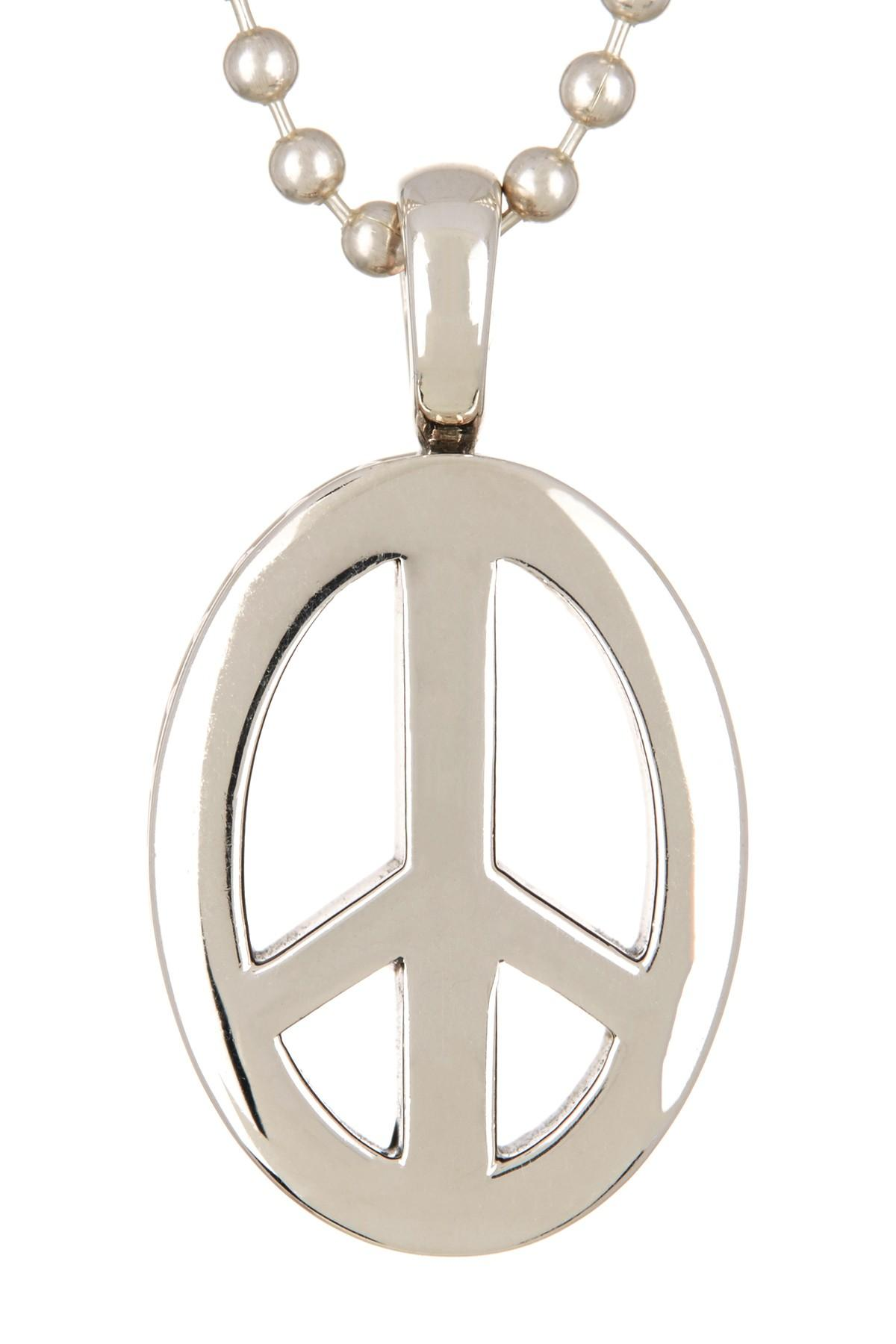 Lyst lagos sterling silver peace sign pendant necklace in metallic gallery buycottarizona Gallery