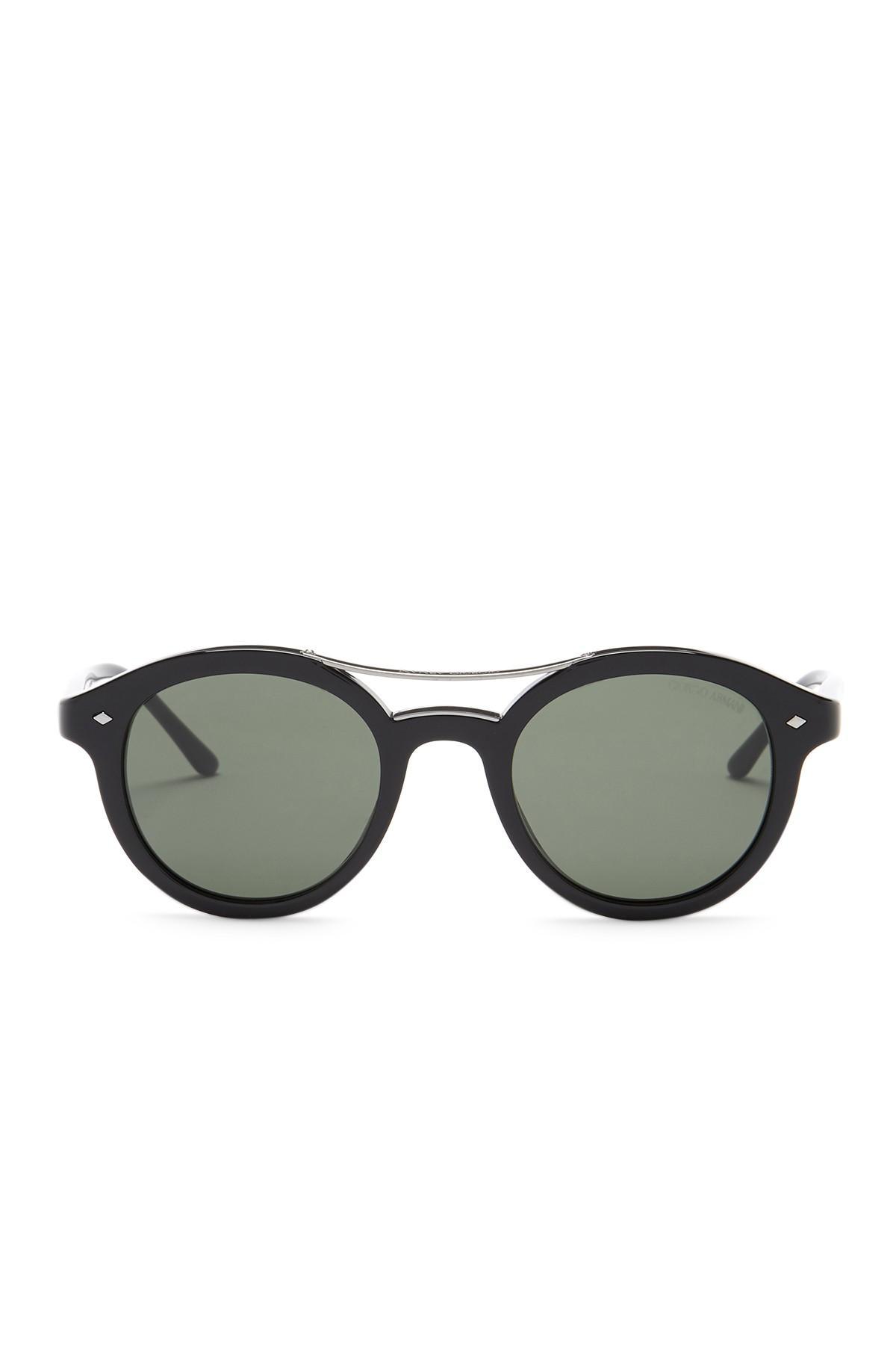Lyst Giorgio Armani Men S Round Sunglasses In Black For Men