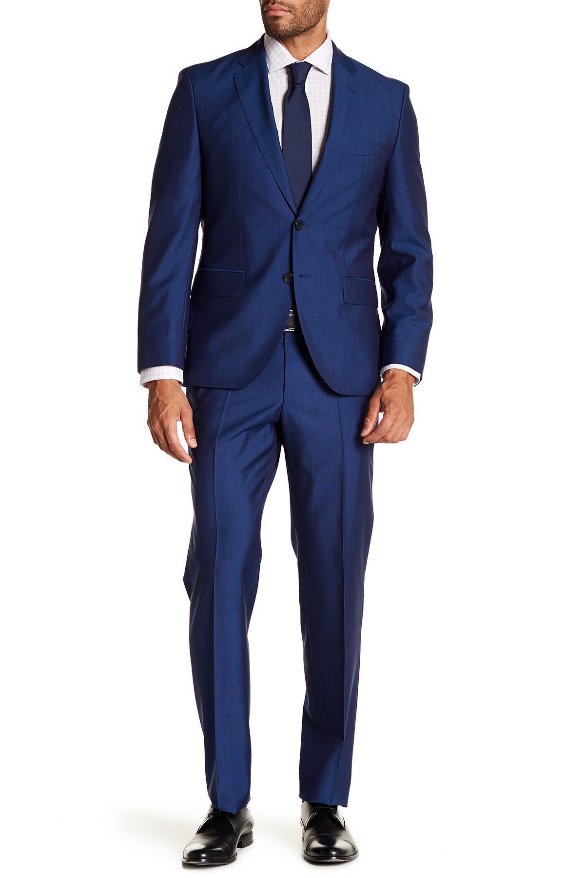 8abc9f68e BOSS Johnston's Lenon Medium Blue Two Button Notch Lapel Suit in ...