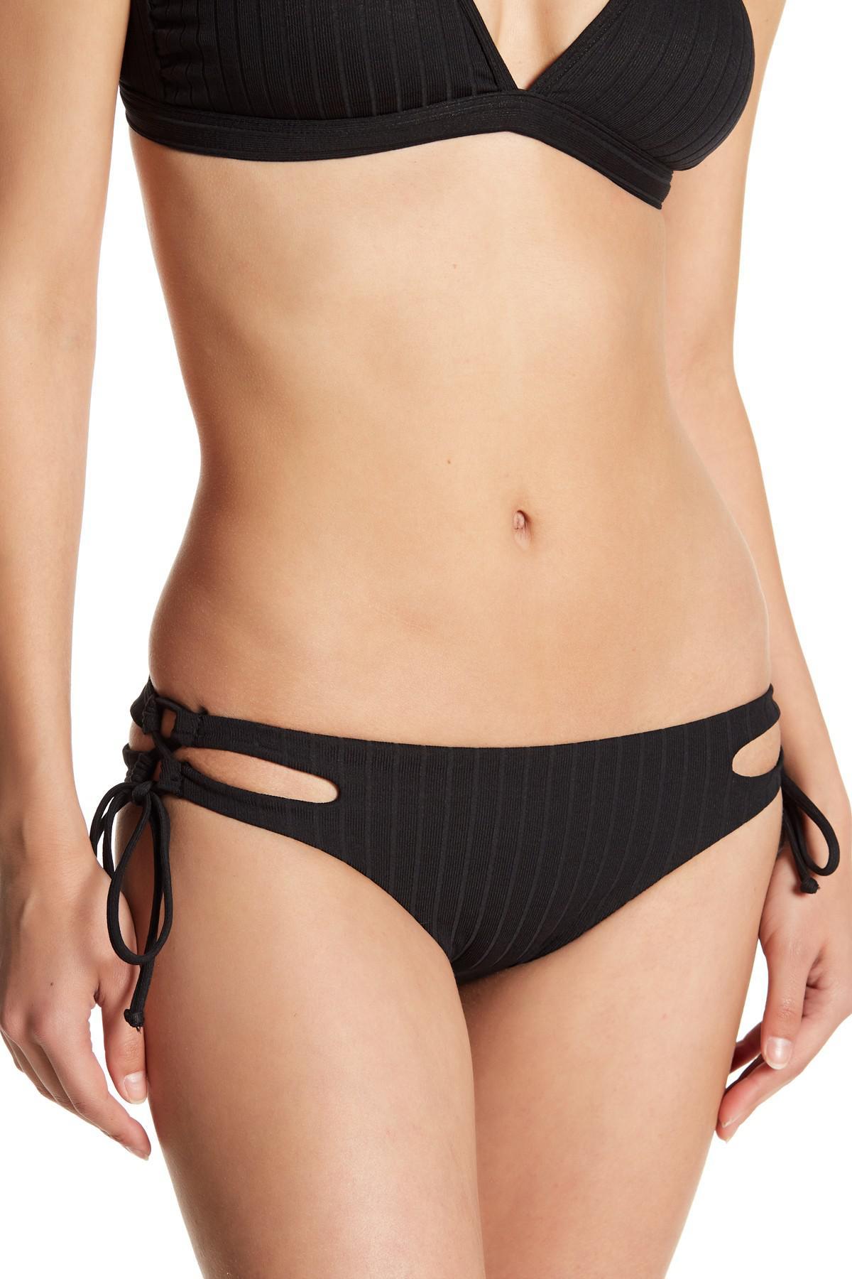 97509b1f4b Lyst - Reef Unity Ribbed Brazilian Bikini Bottoms in Black