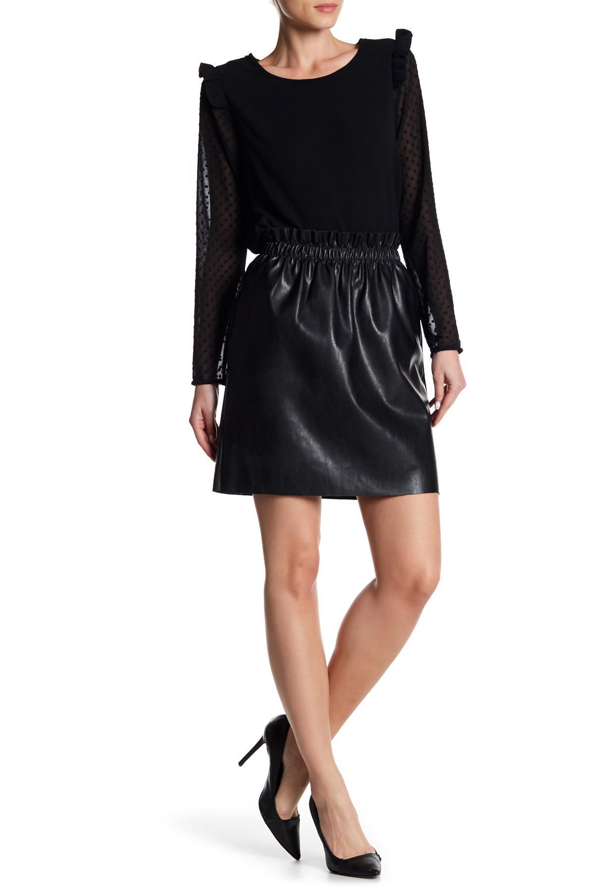 4fe067020d Dex Pull On Faux Leather Mini Skirt in Black - Lyst