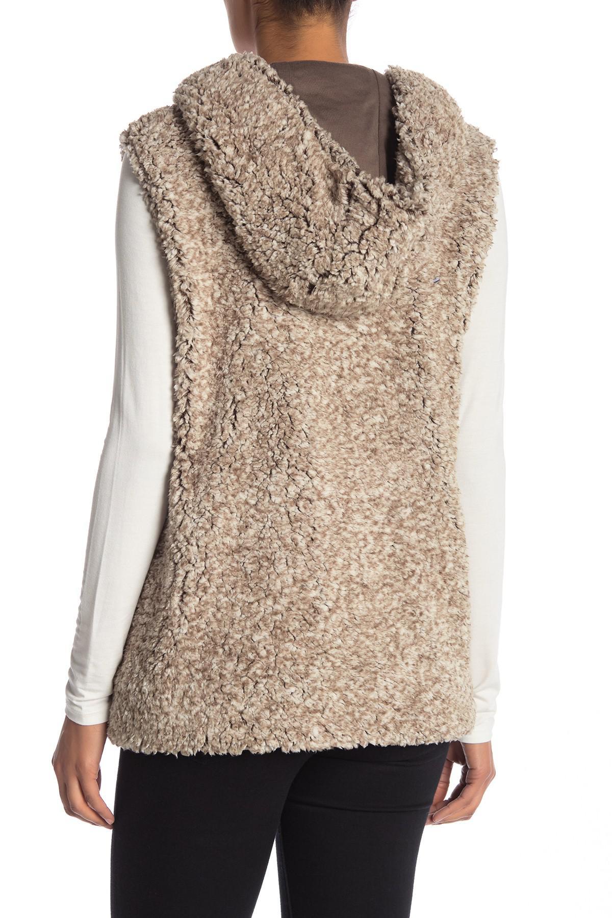 8c56530cefe5 Lyst - CoffeeShop Whubby Hooded Faux Fur Vest in Brown