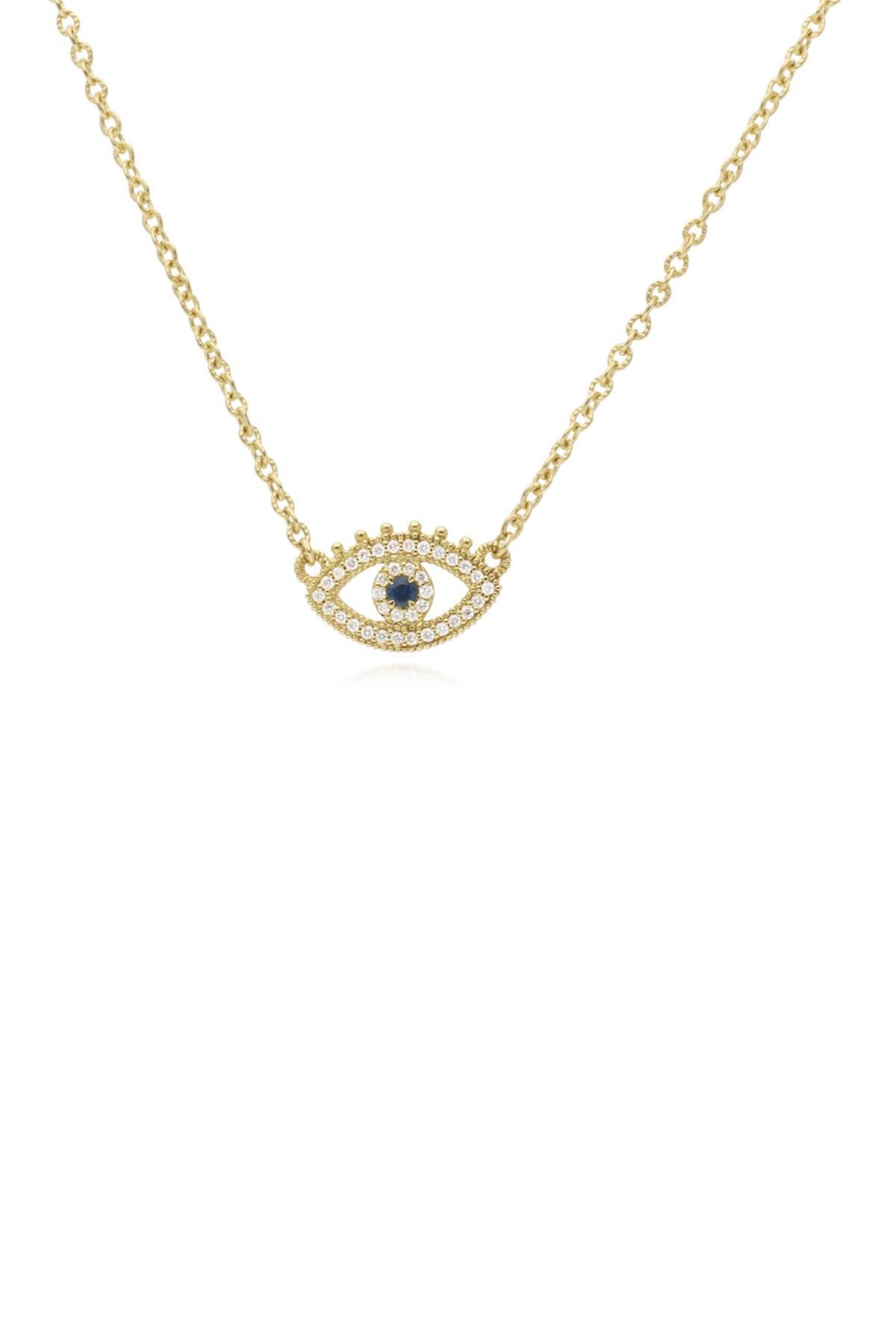 173662114f1cd Judith Ripka Juliette 14k Yellow Gold Pave Diamond & Blue Sapphire ...