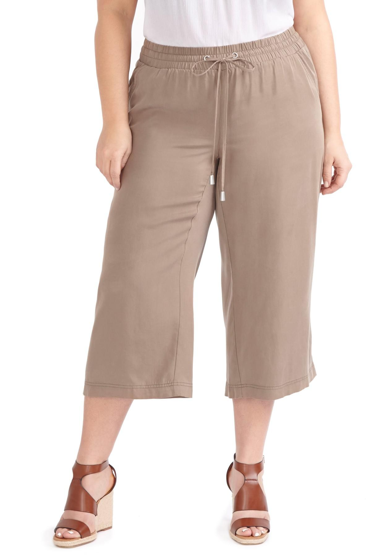 b76cffbee9d39 Lyst - Addition Elle Wide Leg Capri Pants (plus Size) in Brown