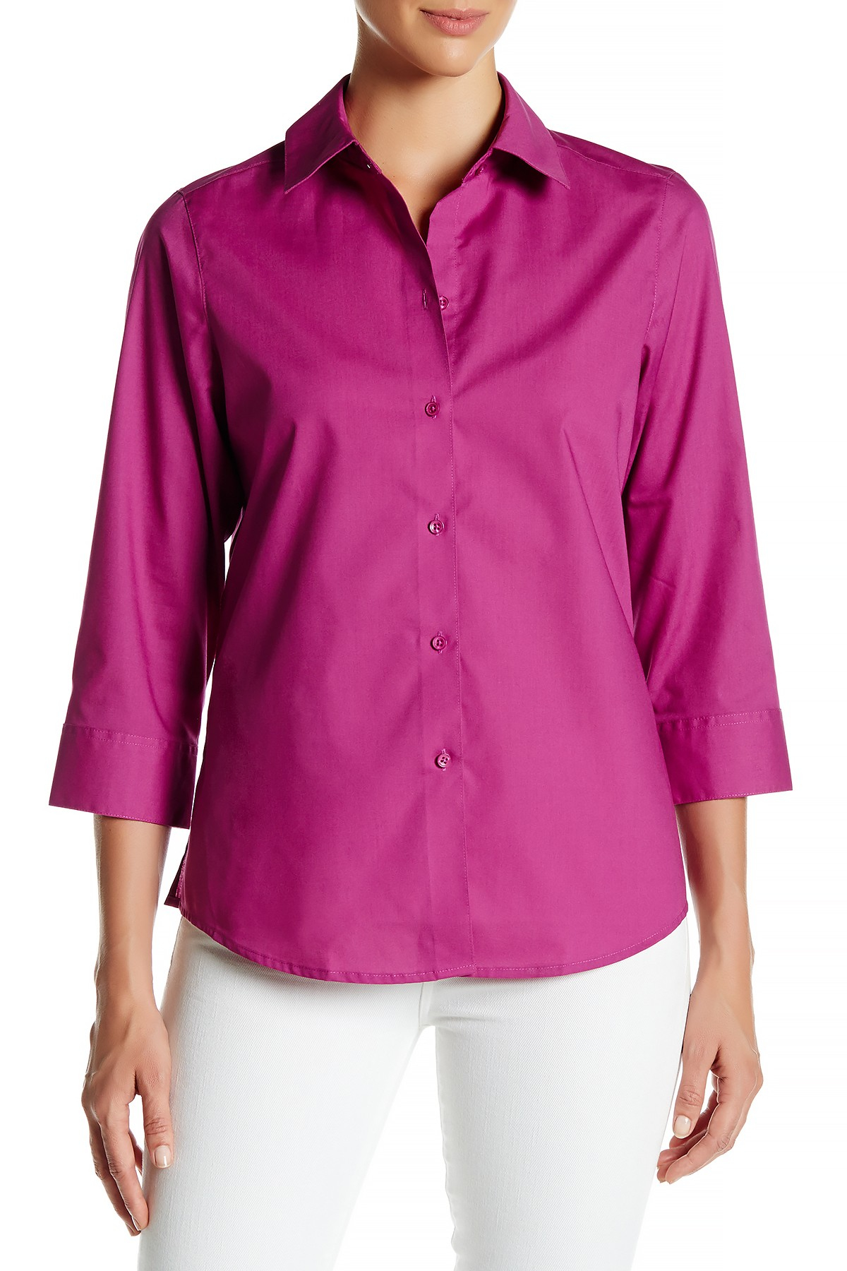 Foxcroft 3 4 Length Sleeve Shaped Fit Shirt In Pink