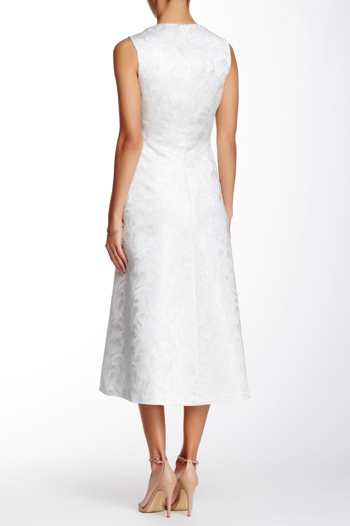 Anne Klein Metallic Jacquard Seamed Fit Amp Flare Dress In