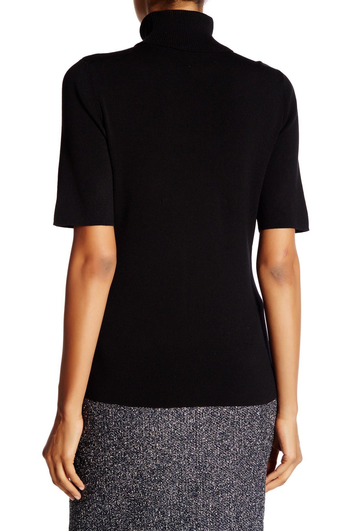Lyst Anne Klein Short Sleeve Turtleneck Sweater In Black