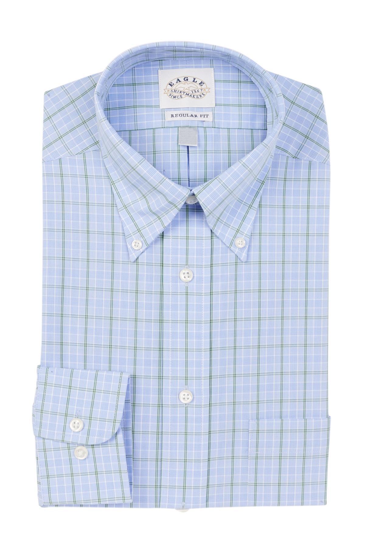 Lyst eagle check plaid regular fit dress shirt in blue for Regular fit dress shirt
