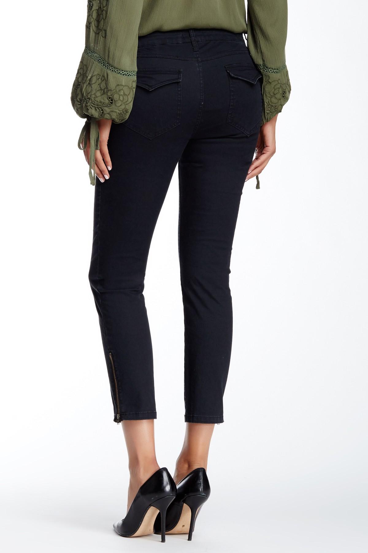 Isy u0026 ki Crop Skinny Cargo Jean in Black | Lyst