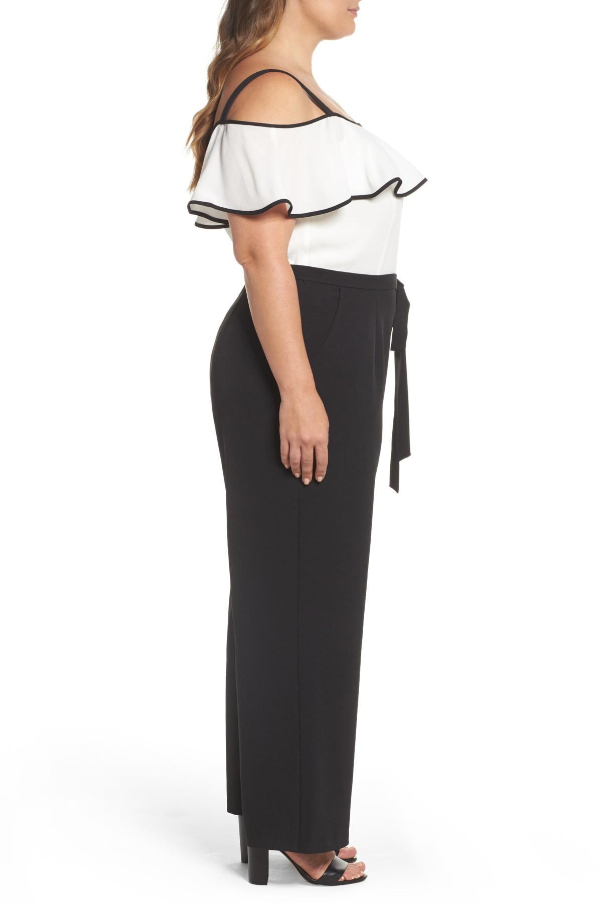 12701787140 Lyst - Eliza J Colorblock Flounce Off The Shoulder Jumpsuit in Black