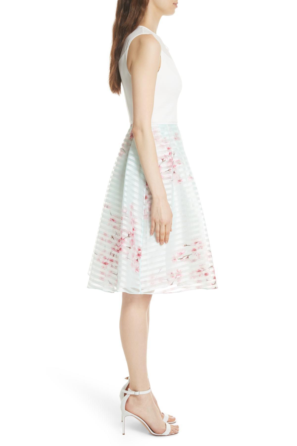 4d6640155 Lyst - Ted Baker Soft Blossom Full Skirted Dress in Natural