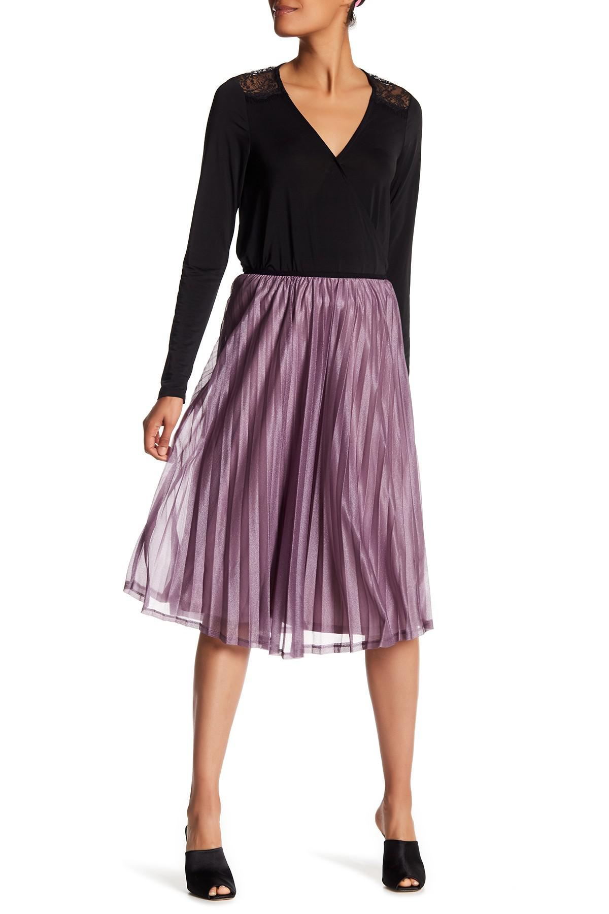 cc477684e7 Vero Moda Glitzy Pleated Skirt in Purple - Lyst