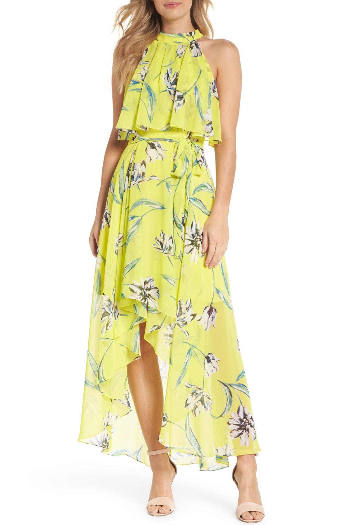 bb20c79c0f9 Eliza J Halter Neck Chiffon Maxi Dress in Yellow - Lyst